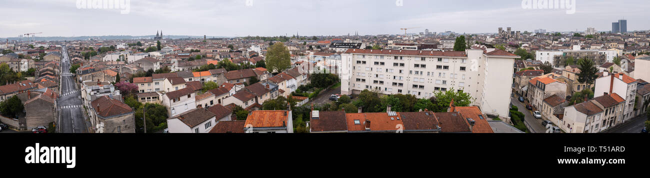 Aerial panorama of the city of Bordeaux - Stock Image