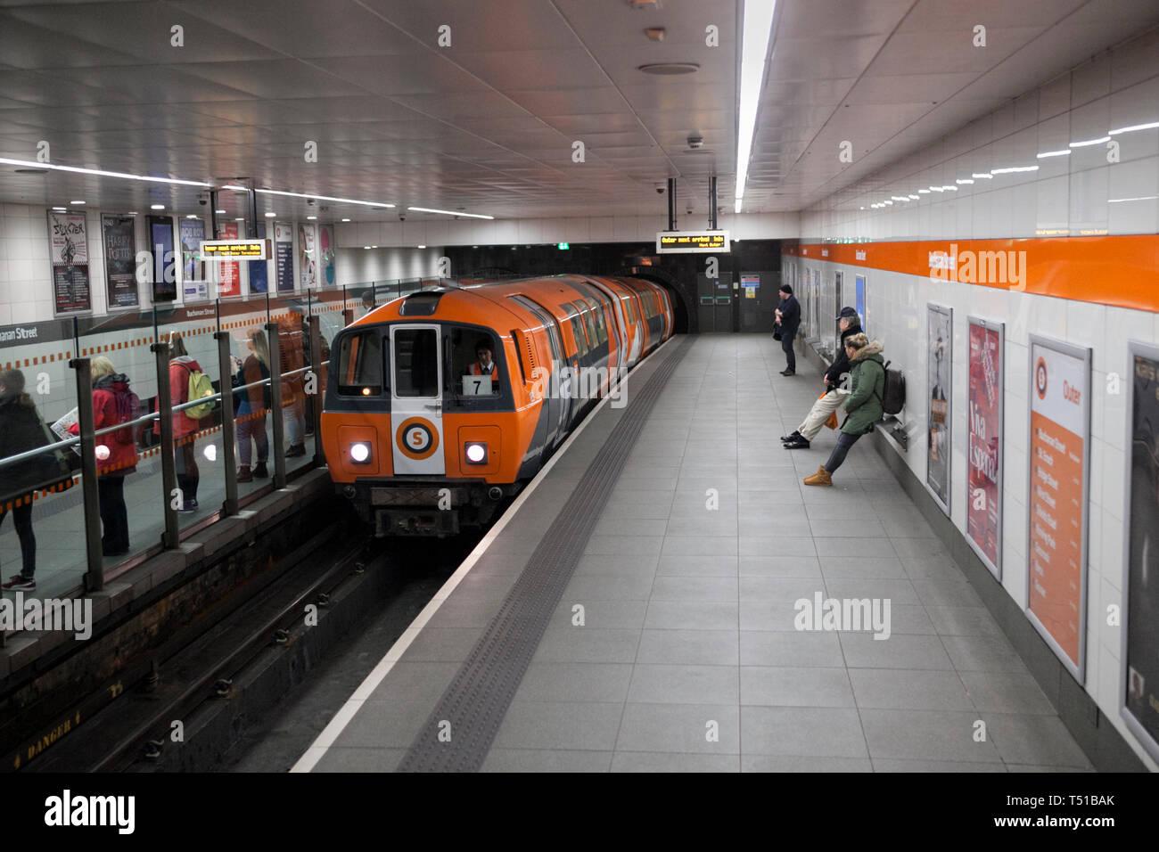 SPT subway train arriving at Glasgow Buchanan street underground station on the Glasgow underground / subway Stock Photo