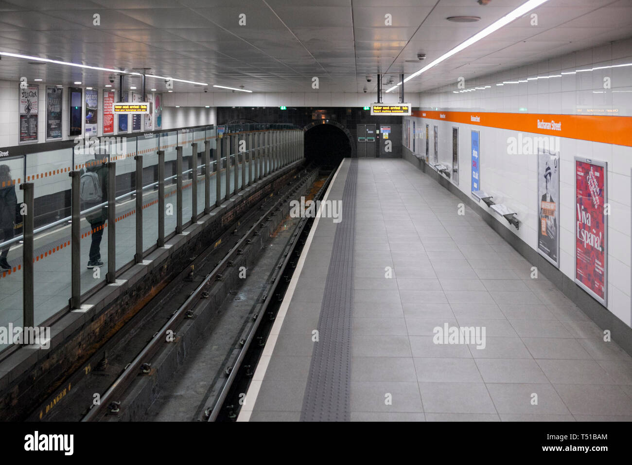 Glasgow Buchanan street underground station on the SPT glasgow subway - Stock Image
