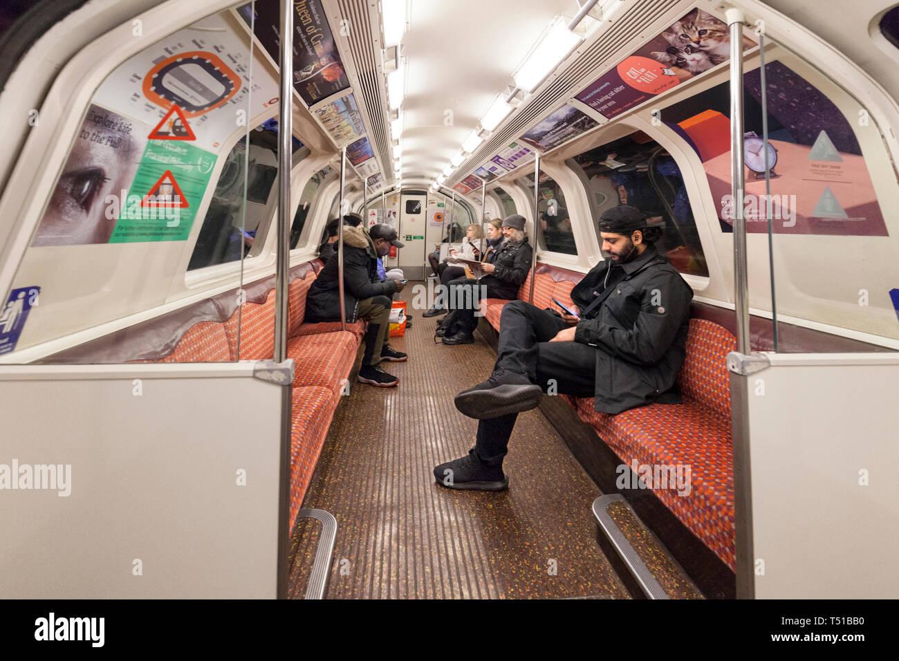 22/03/2019 Passengers on the Glasgow SPT subway - Stock Image