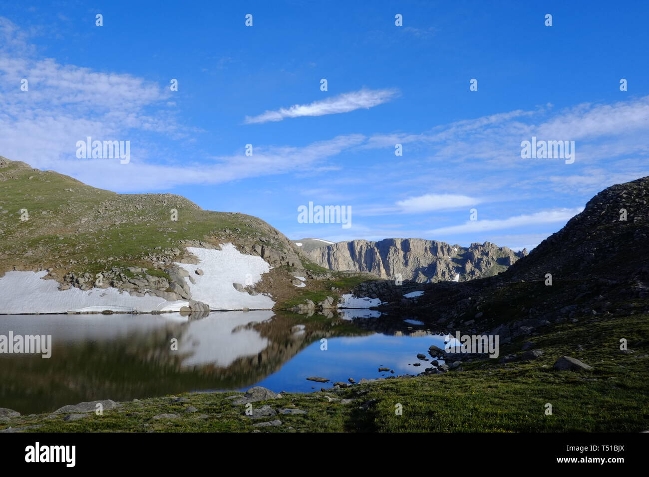 Summit Lake at Mount Evans, a 14,000 foot mountain located in the Arapaho National Forest of Colorado, USA. - Stock Image