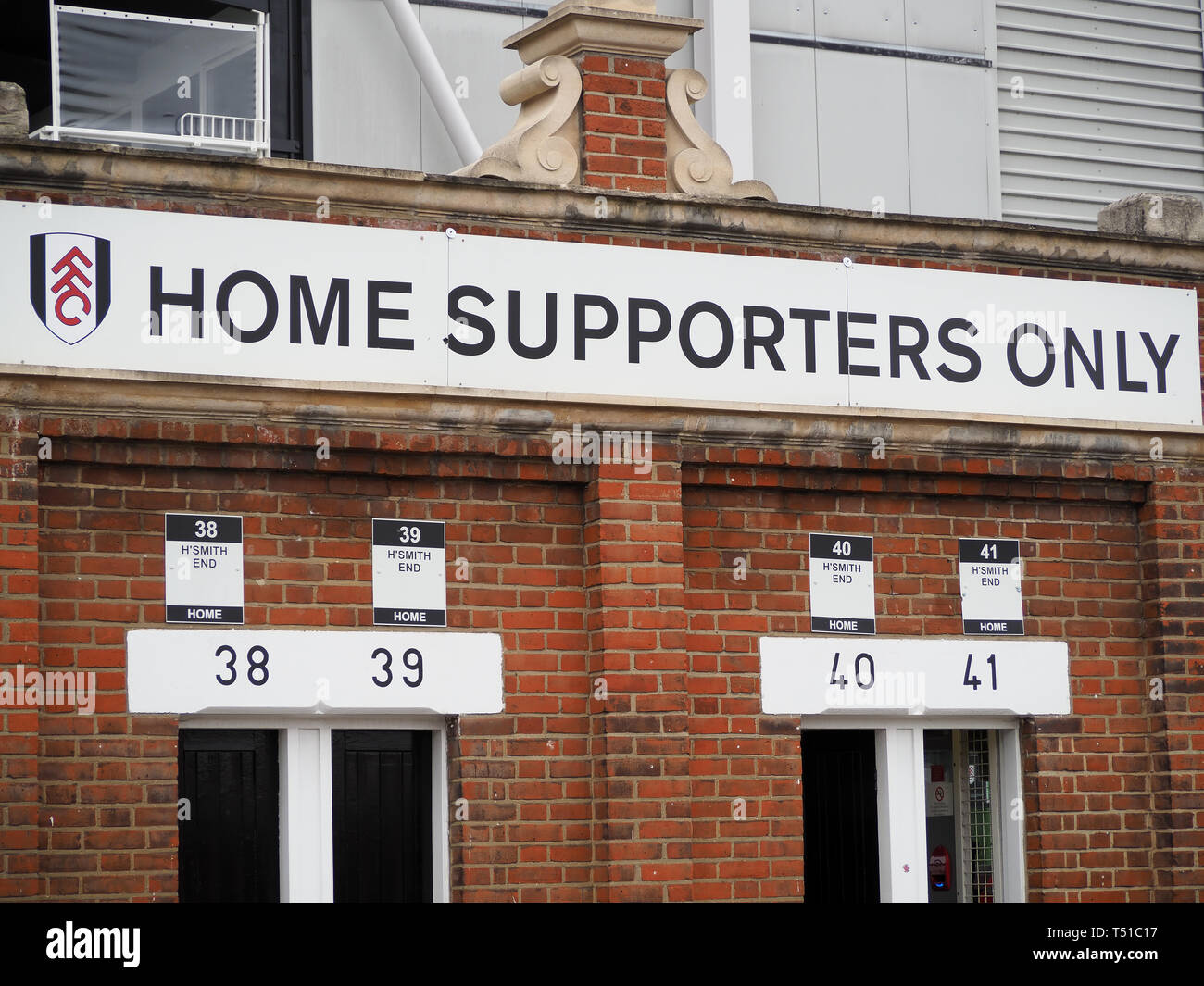 View of the home supporters entrance at Craven Cottage football club in London - Stock Image