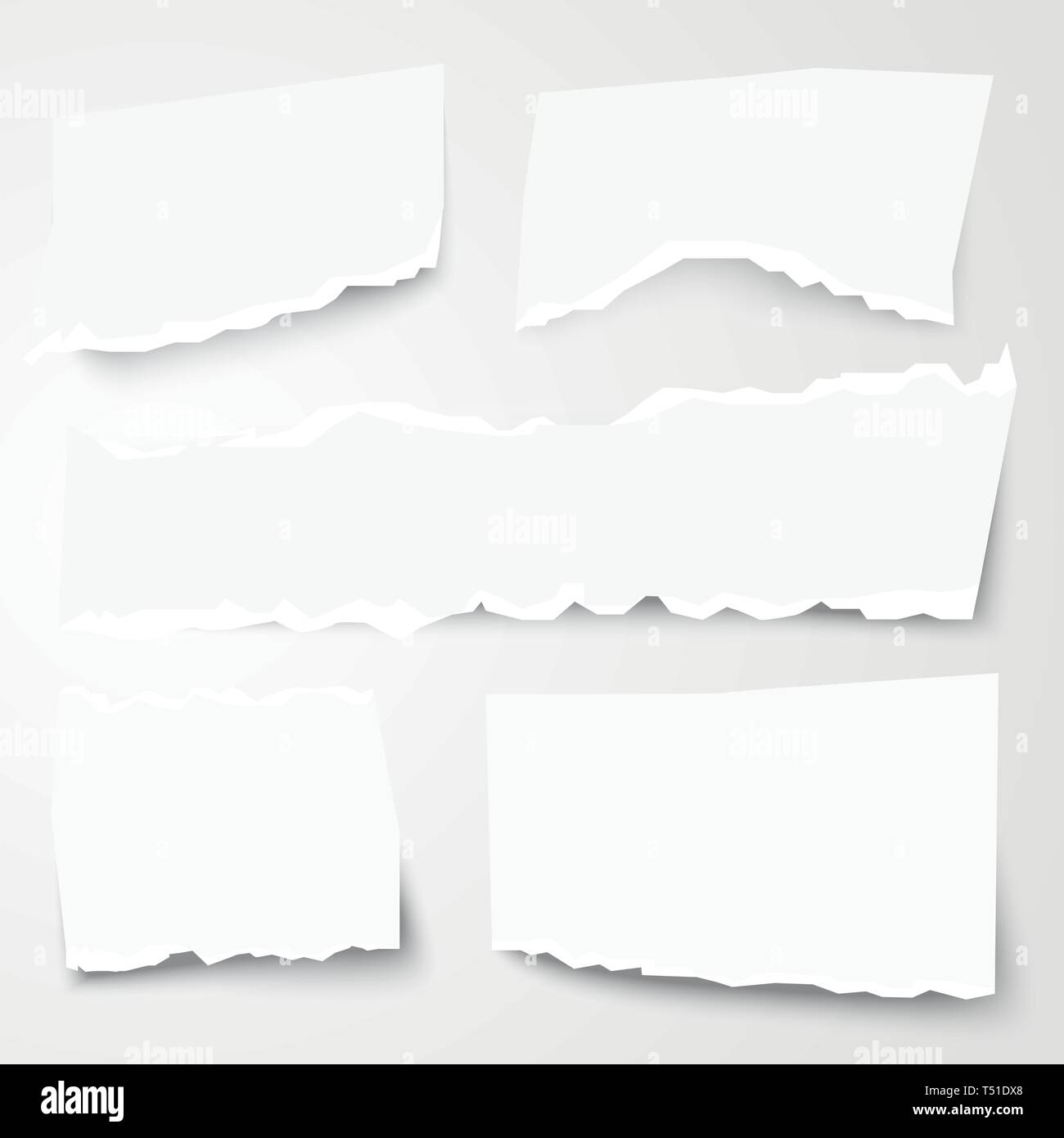 Set of Different Torn Paper Shapes. Vector Illustration. - Stock Vector