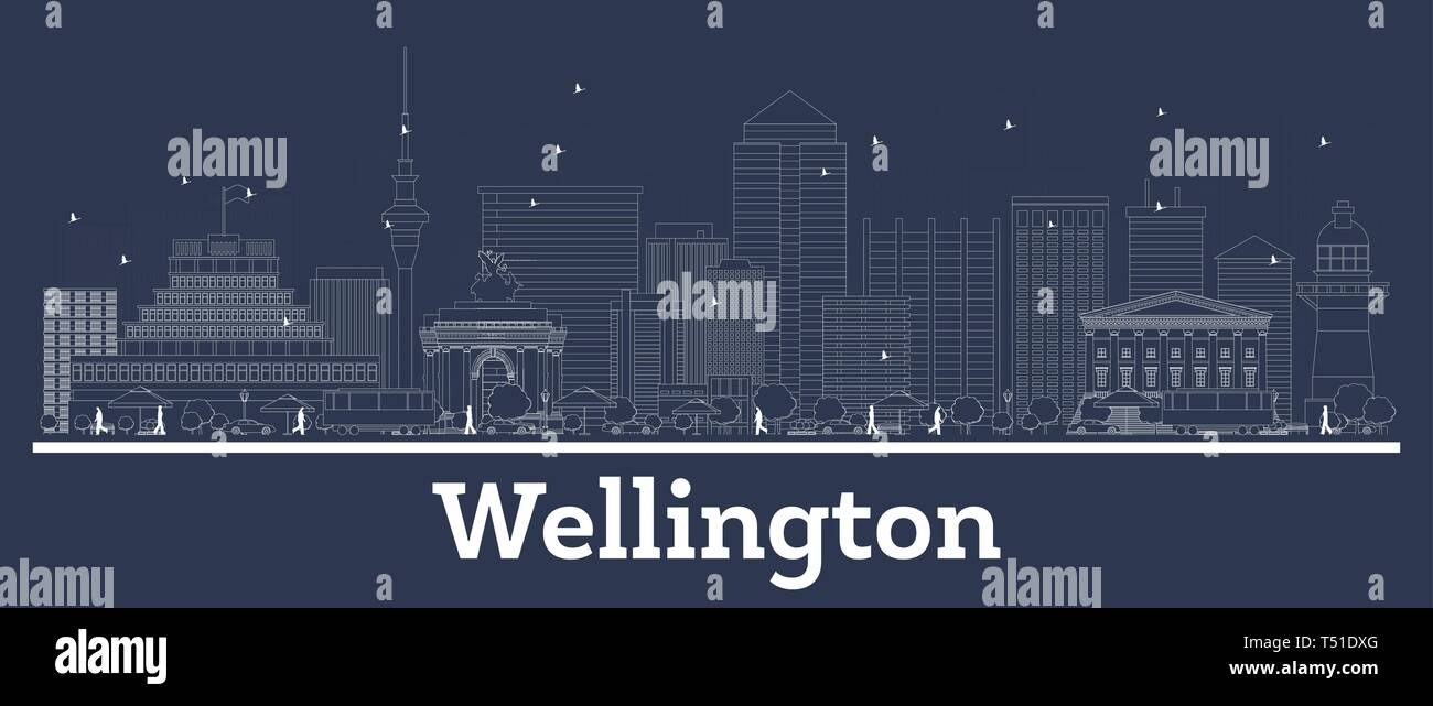 Outline Wellington New Zealand City Skyline with White Buildings. Vector Illustration. Business Travel and Concept with Modern Architecture. Stock Vector