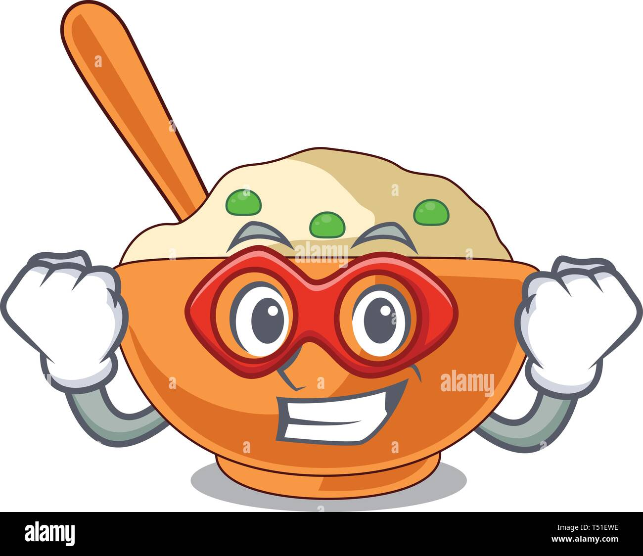 Super hero mashed potato isolated with the cartoon - Stock Vector