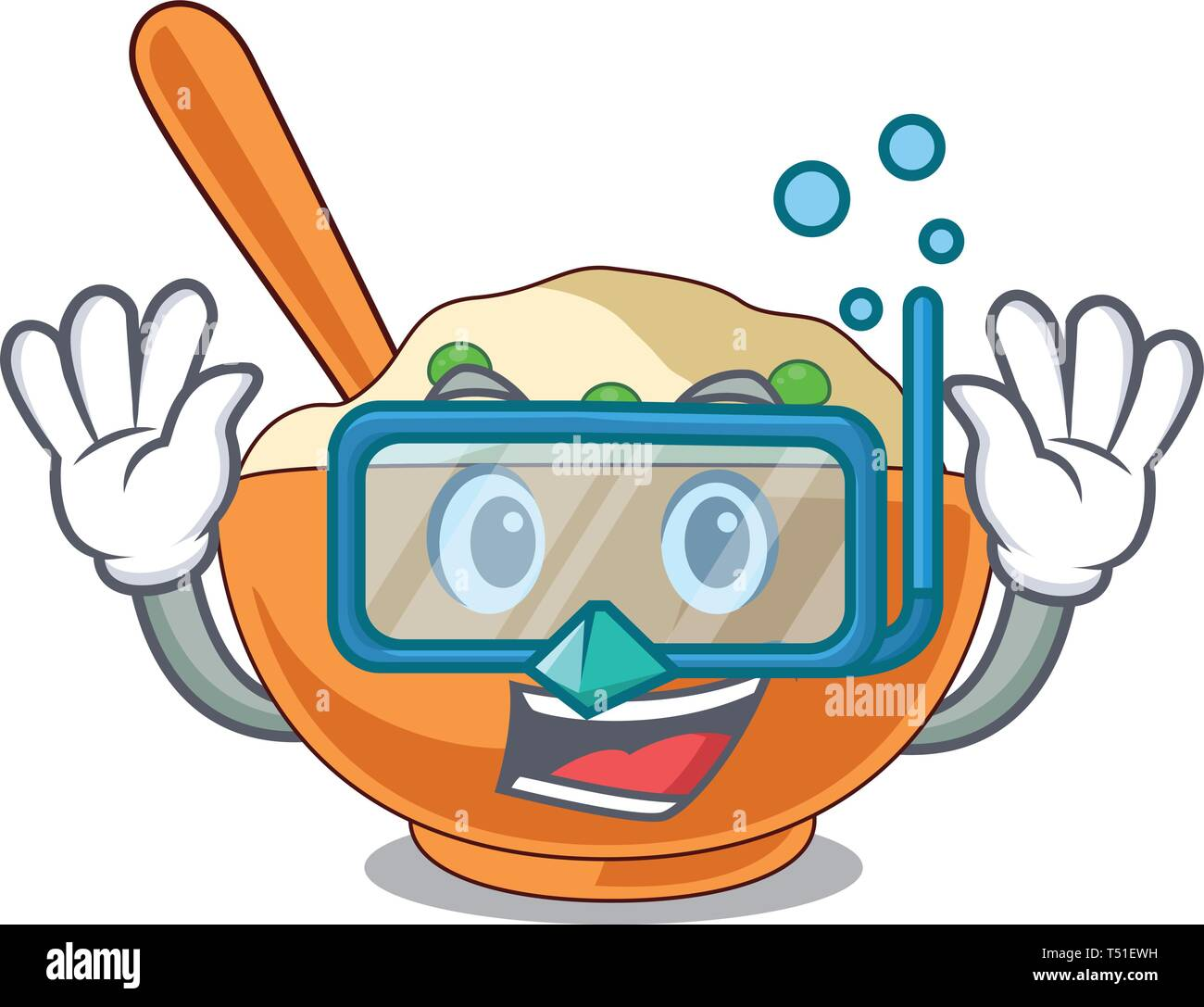 Diving mashed potato isolated with the cartoon - Stock Vector