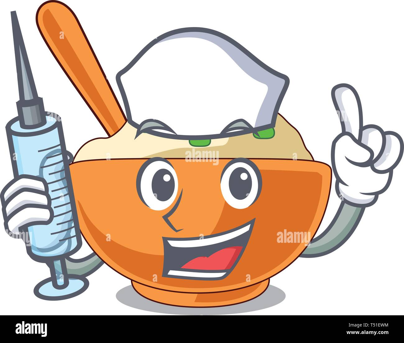 Nurse mashed potato isolated with the cartoon - Stock Vector