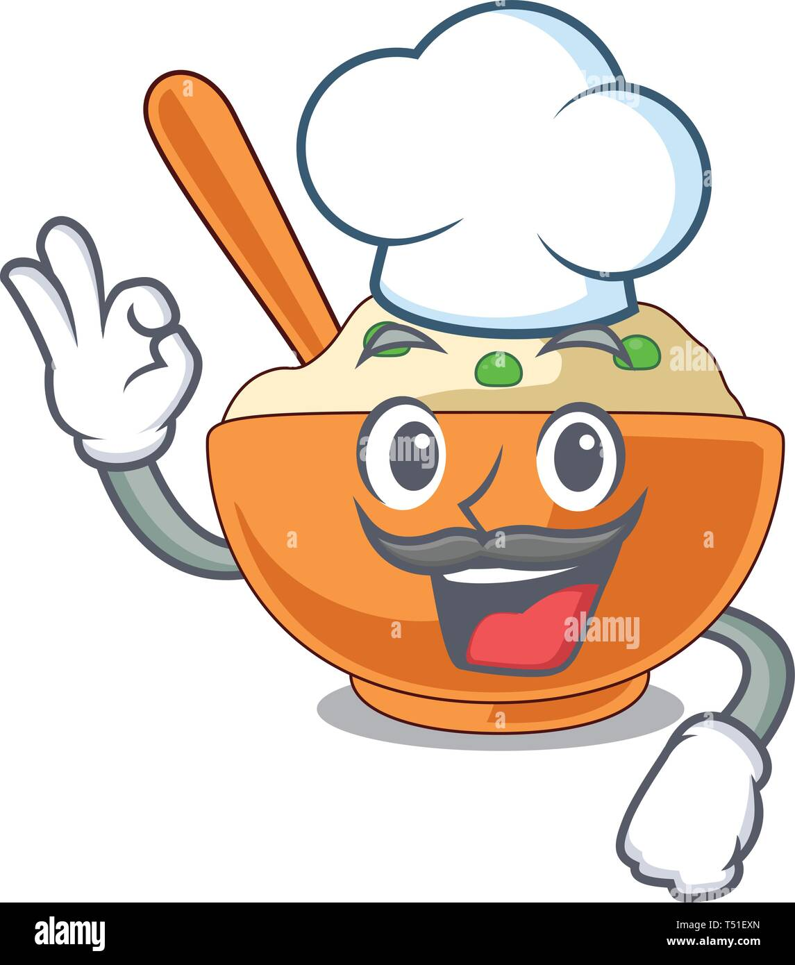 Chef mashed potato isolated with the cartoon - Stock Vector