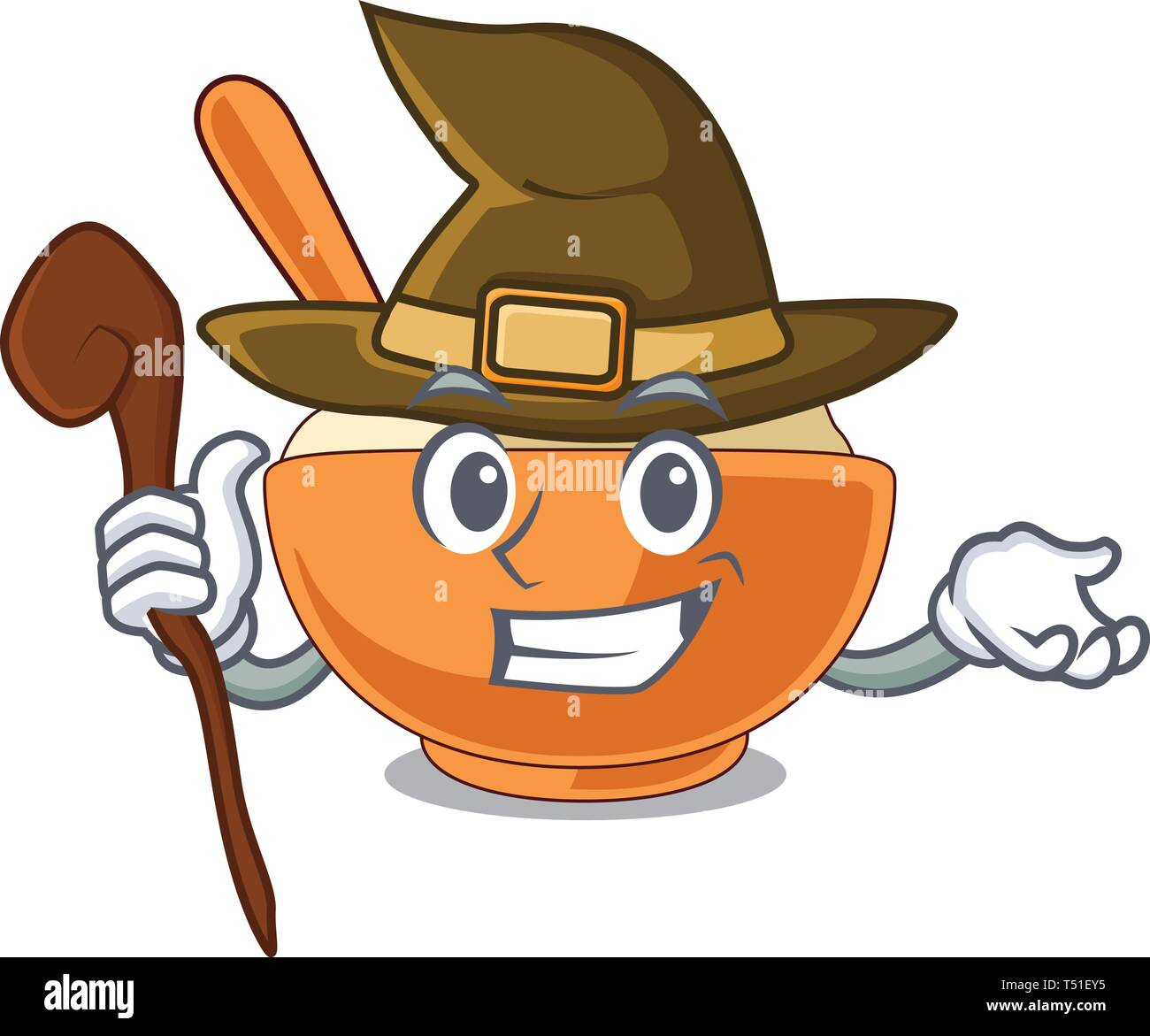 Witch mashed potato in the shape mascot - Stock Image
