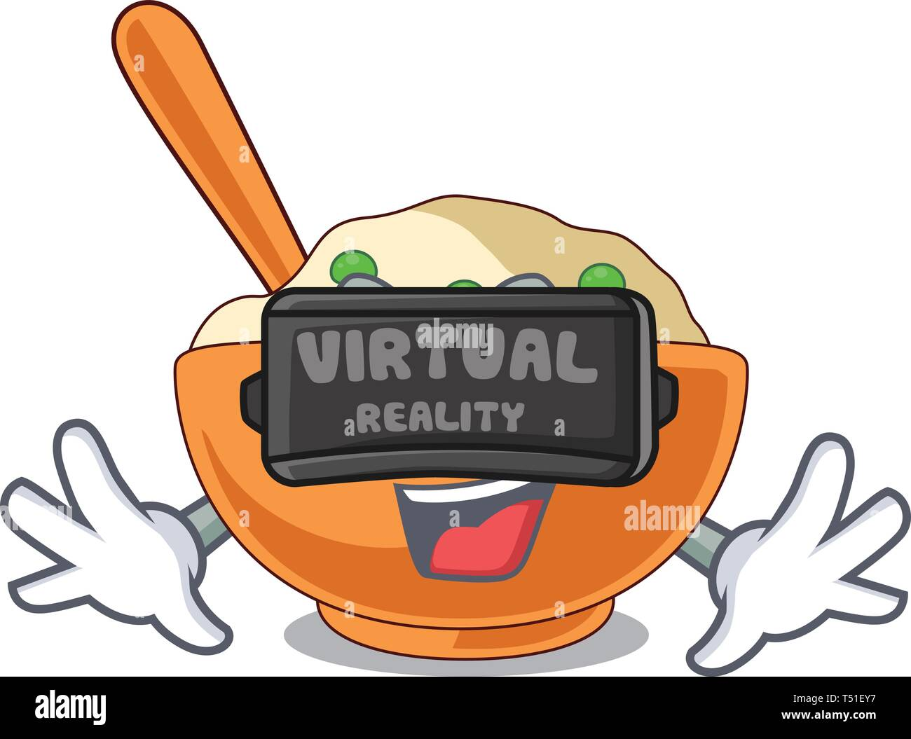 Virtual reality mashed potato in the shape mascot - Stock Image