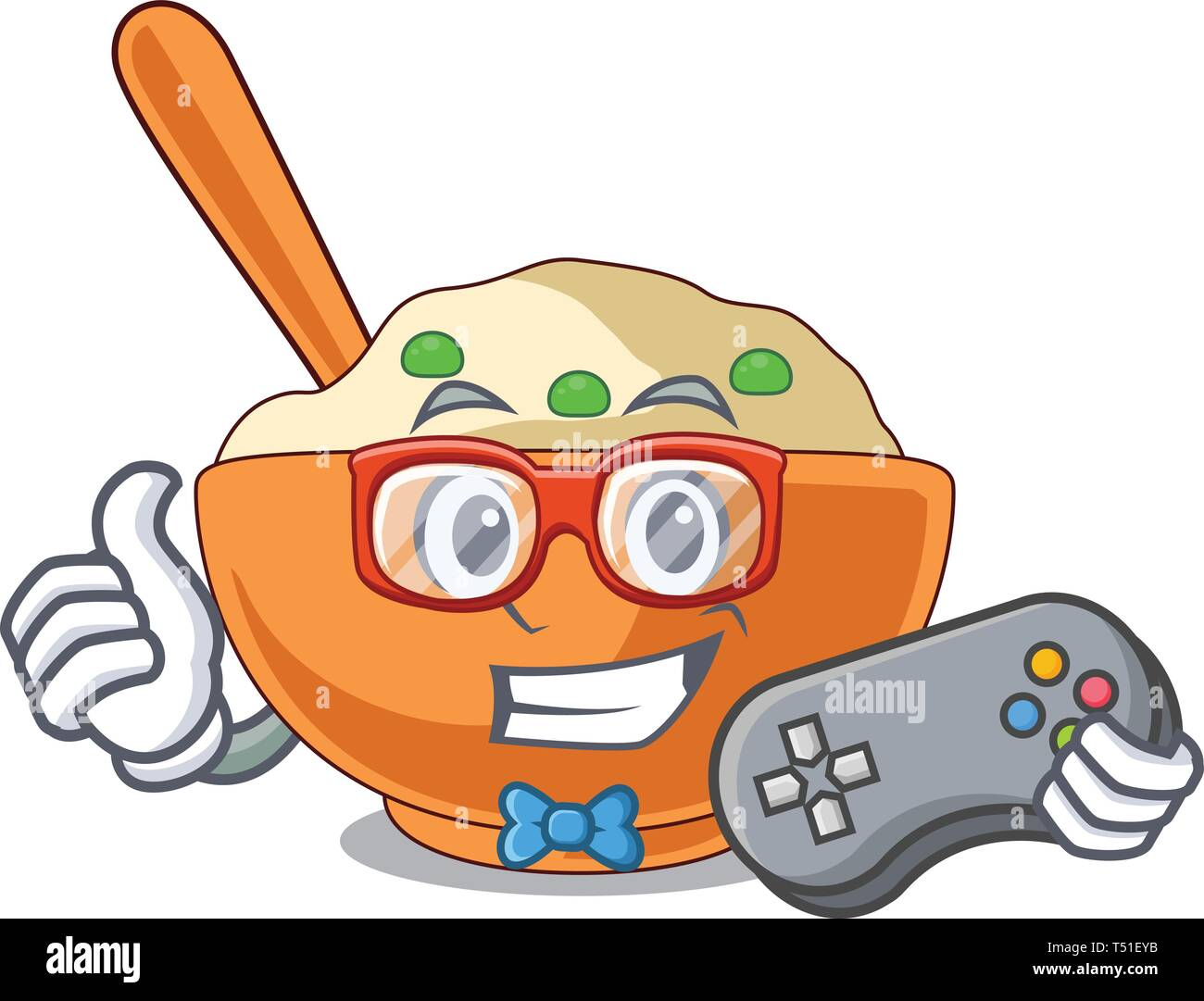 Gamer mashed potato in the shape mascot - Stock Image