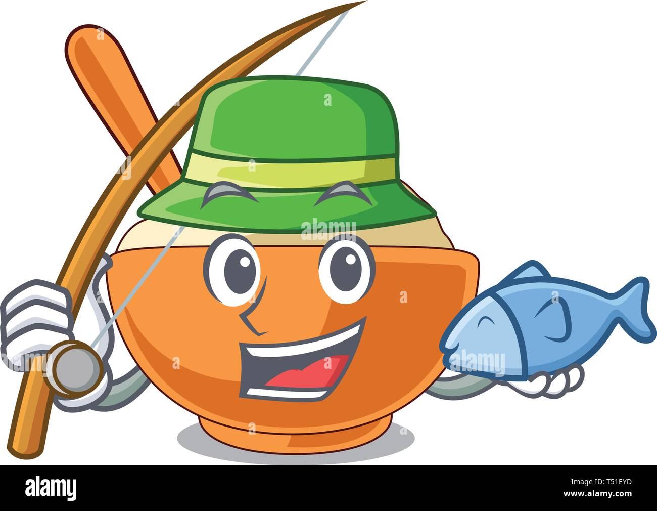 Fishing mashed potato in the shape mascot - Stock Vector
