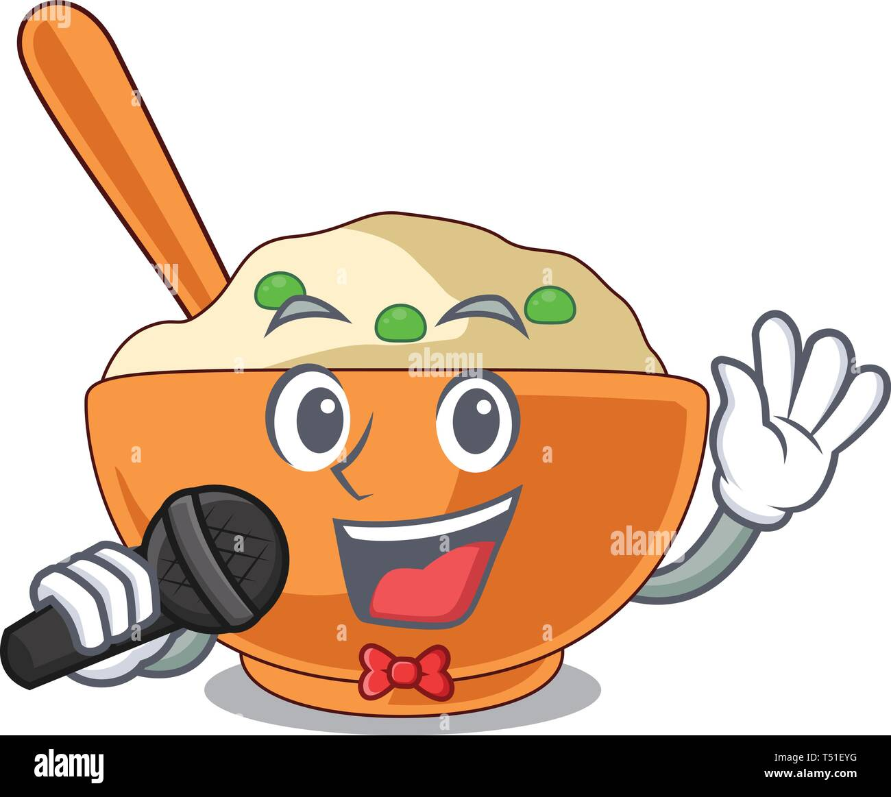 Singing mashed potato in the shape mascot - Stock Vector