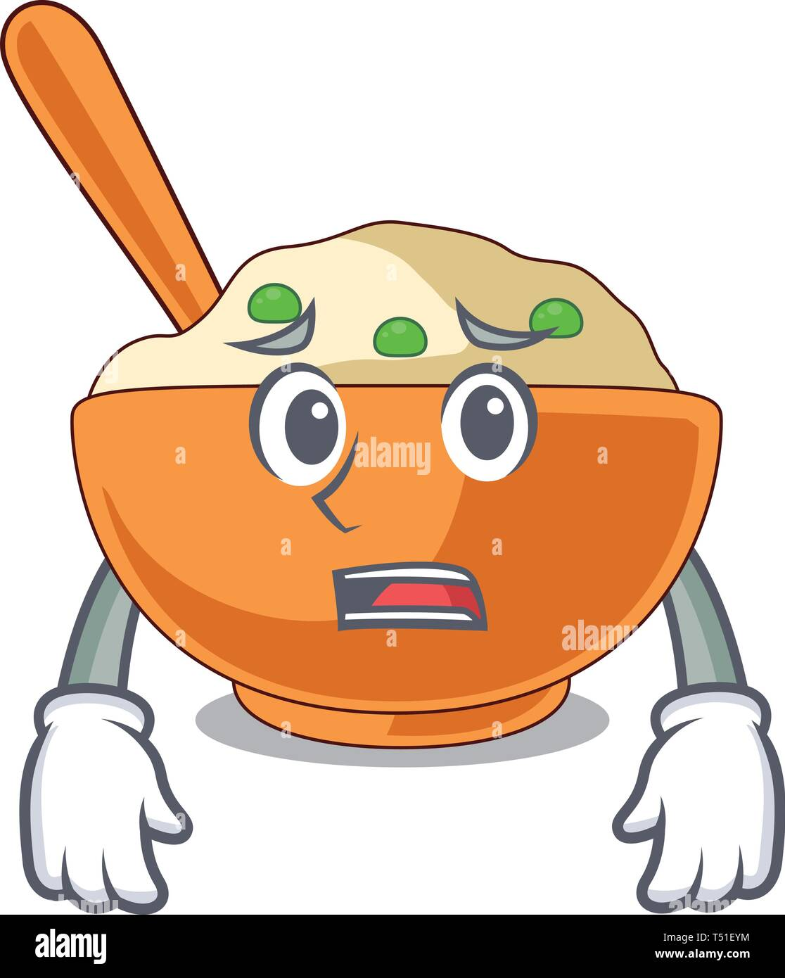 Afraid mashed potato in the shape mascot - Stock Vector