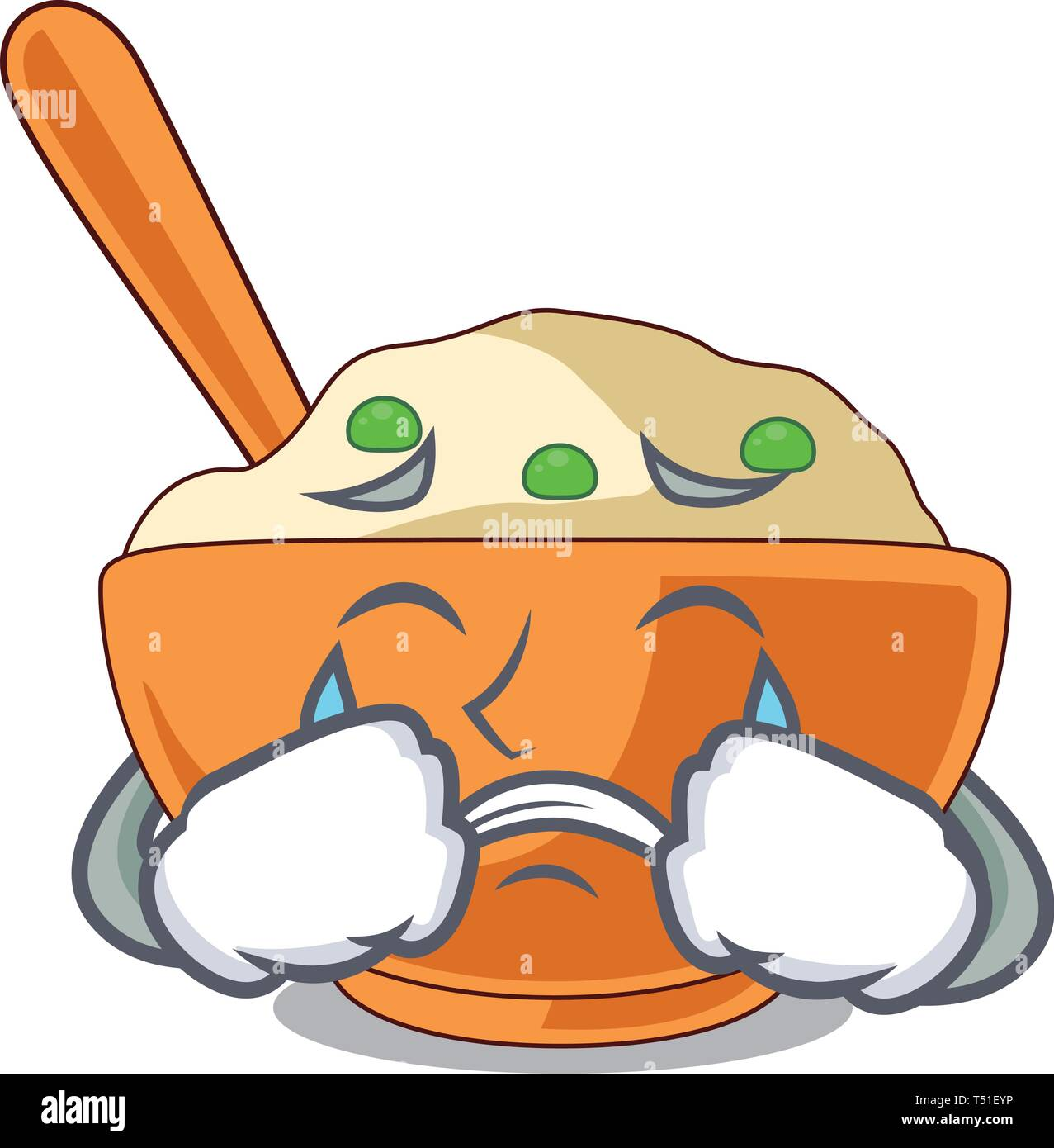 Crying mashed potato in the shape mascot - Stock Vector