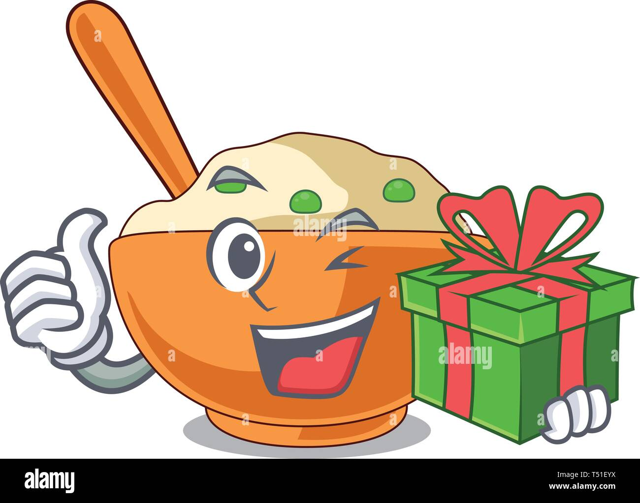 With gift mashed potato in the shape mascot - Stock Image