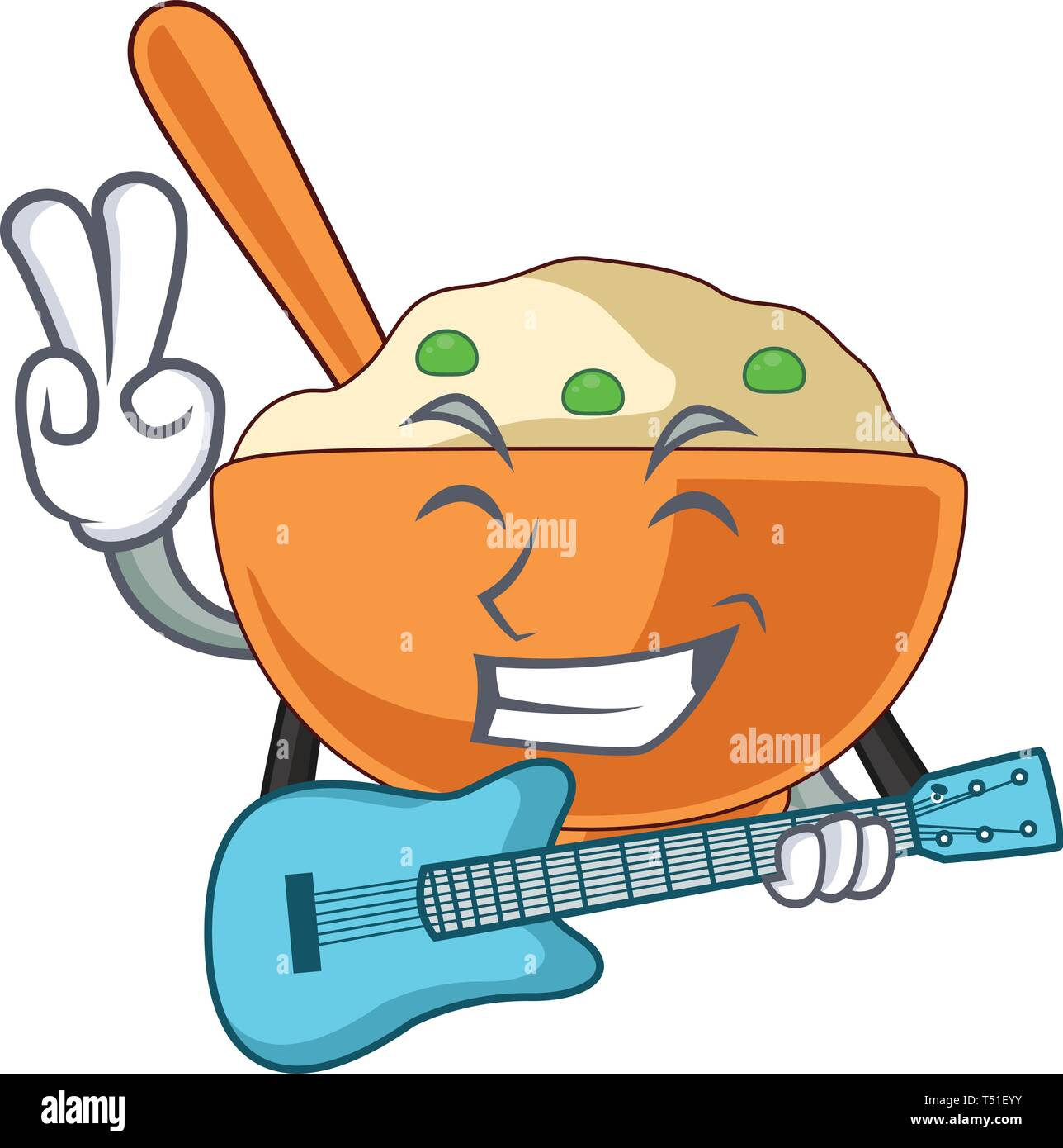 With guitar mashed potato in the shape mascot - Stock Image