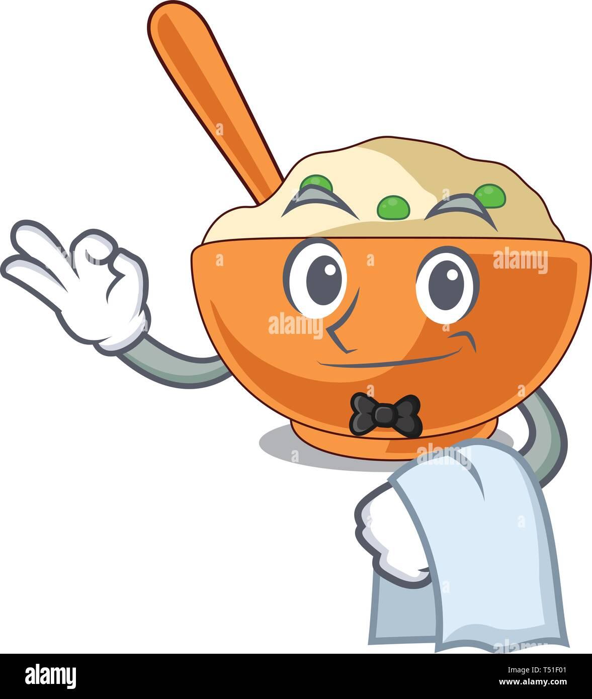 Waiter mashed potato in the shape mascot - Stock Vector