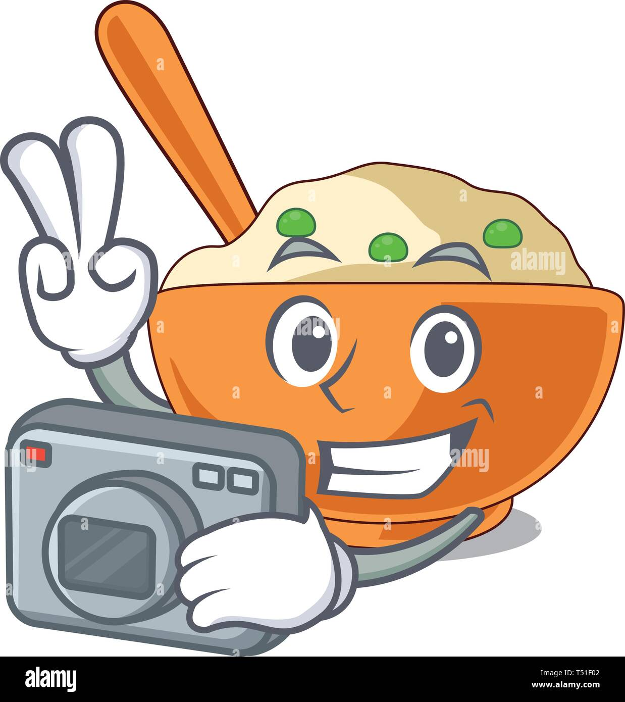 Photographer mashed potato in the shape mascot - Stock Vector