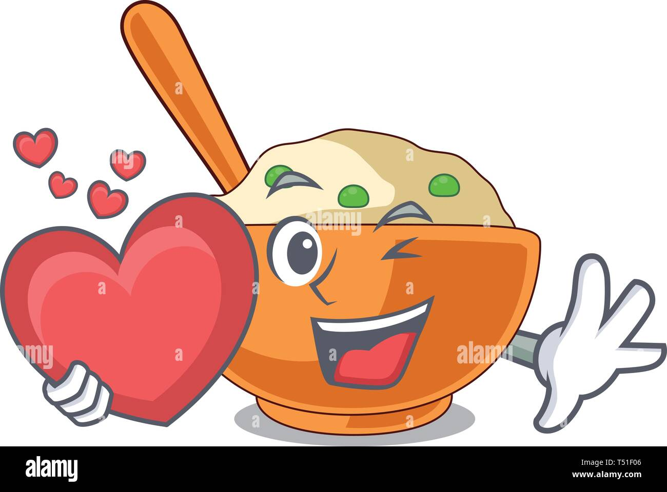 With heart mashed potato in the shape mascot - Stock Image