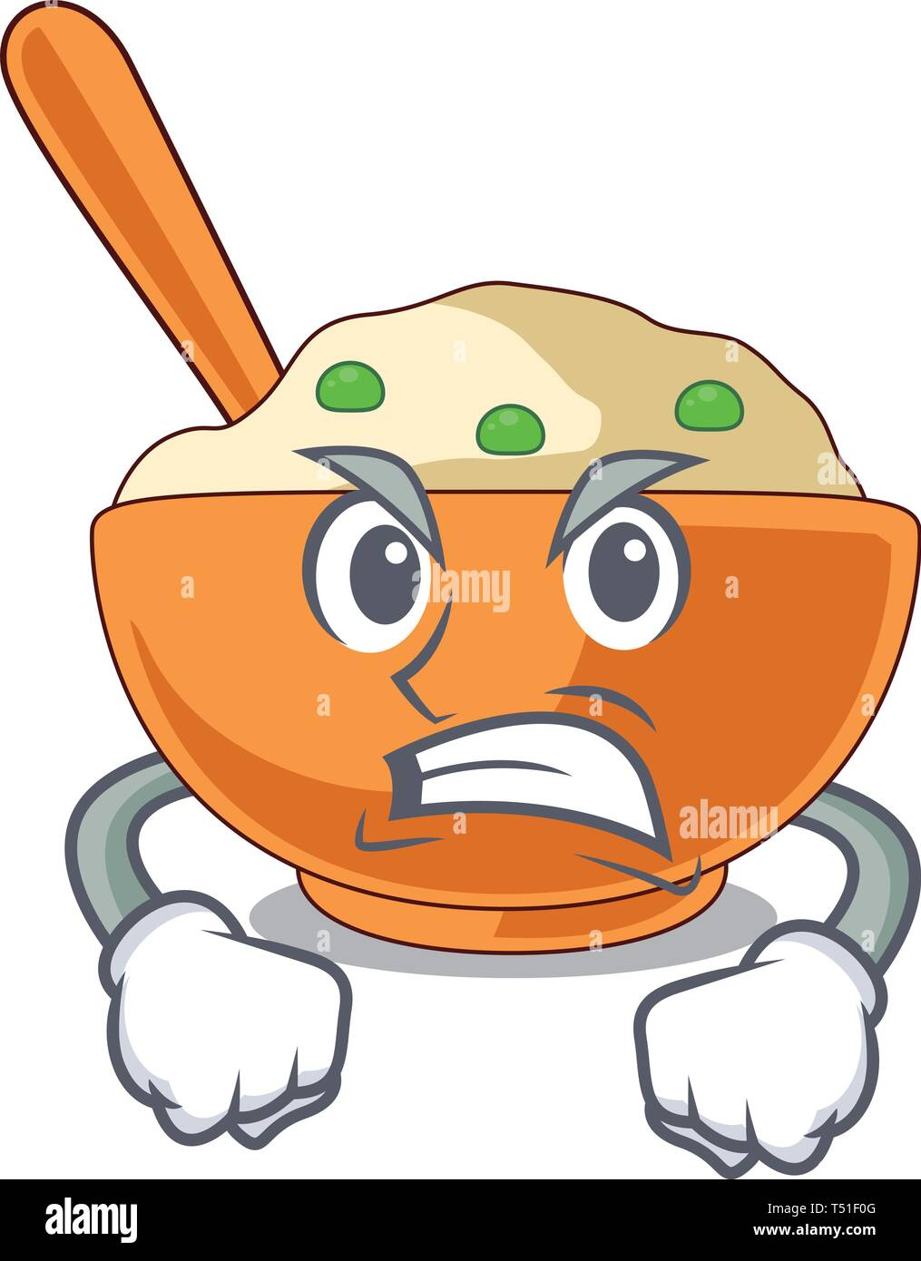 Angry mashed potato in the shape mascot - Stock Image