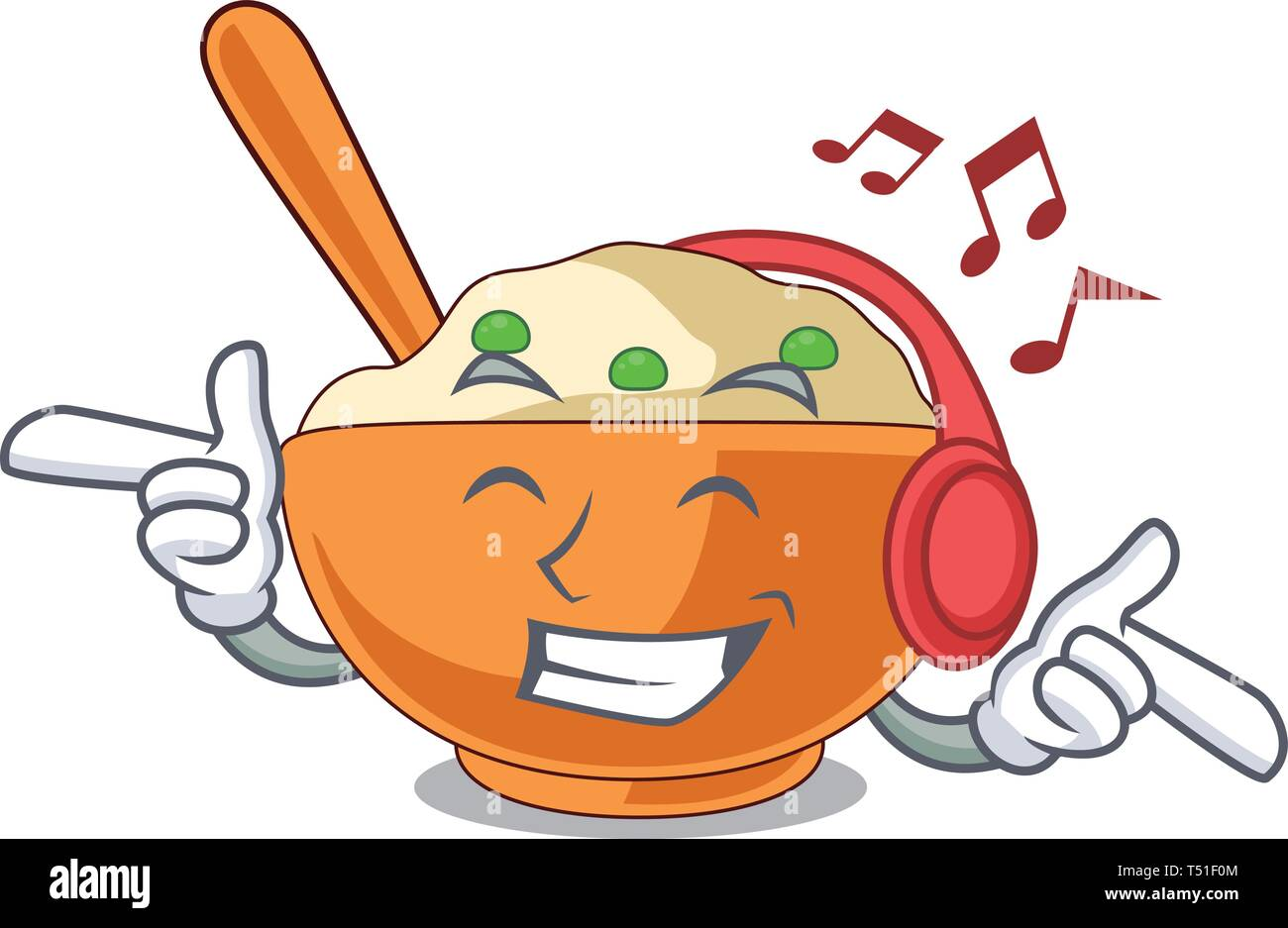 Listening music mashed potato in the shape mascot - Stock Image