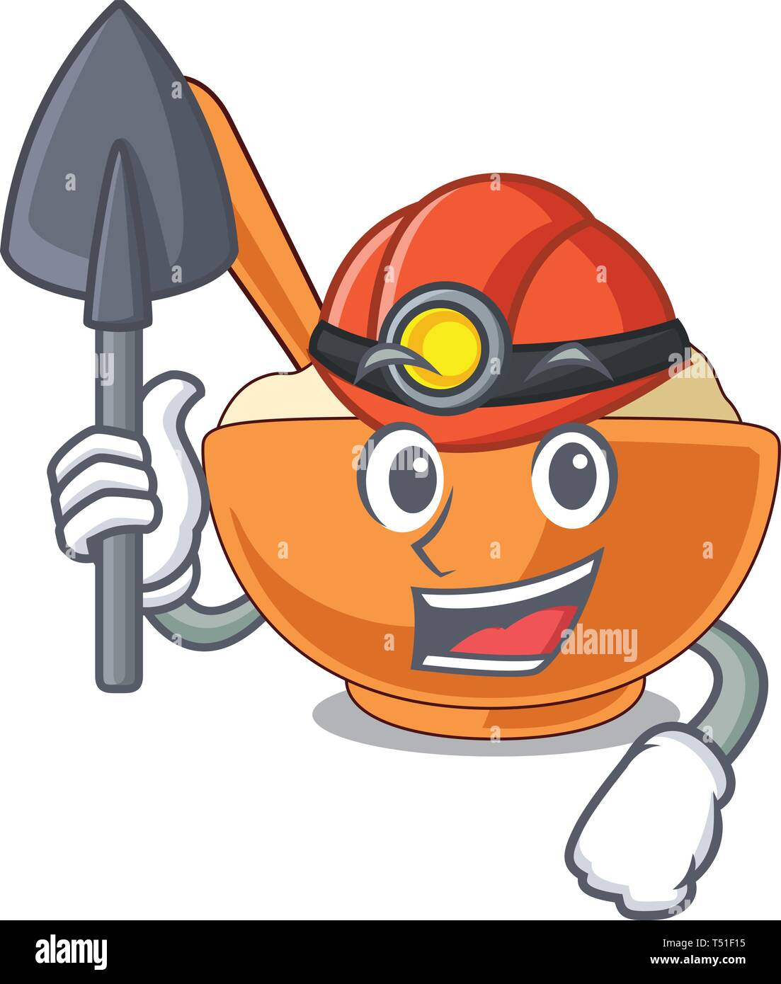Miner mashed potato in the shape mascot - Stock Image