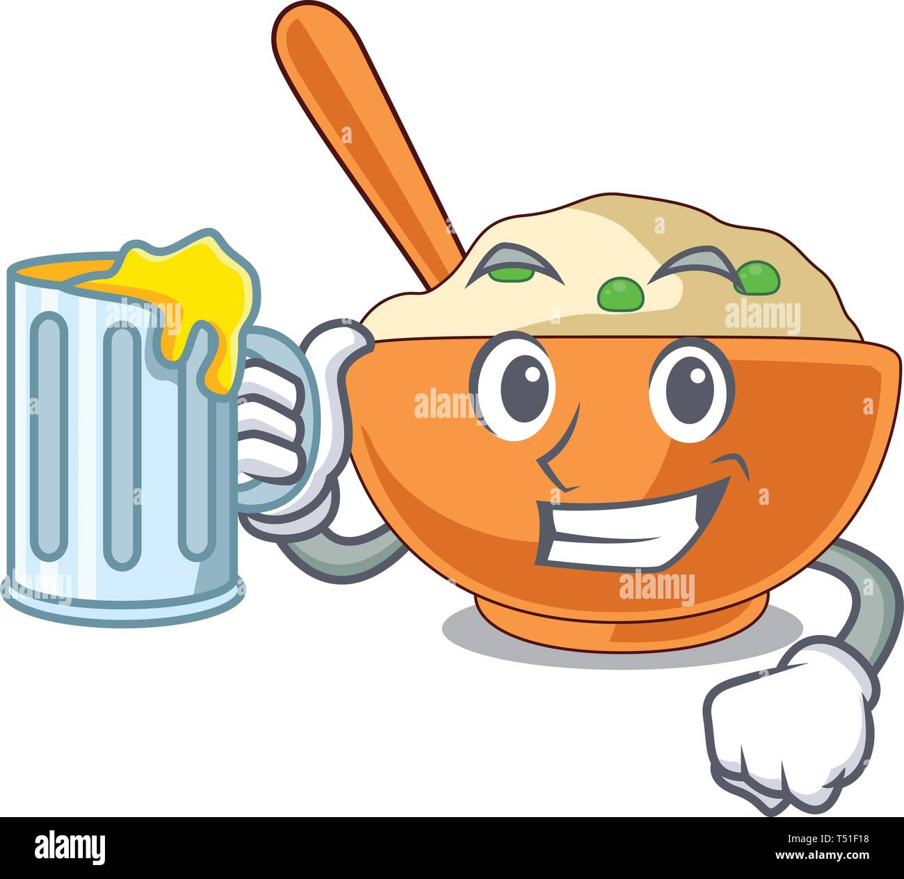 With juice mashed potato in the shape mascot - Stock Image