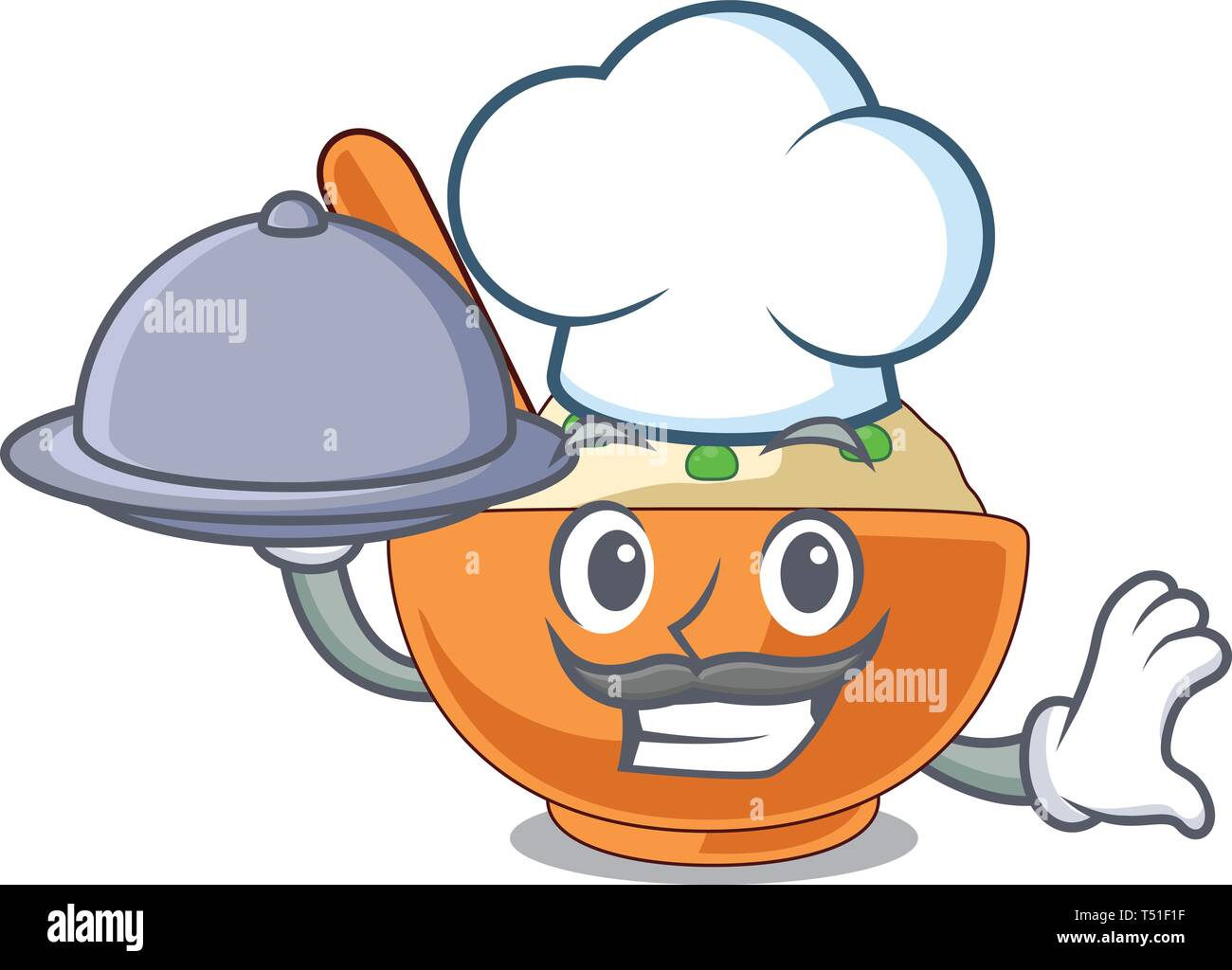 Chef with food mashed potato in the shape mascot - Stock Image