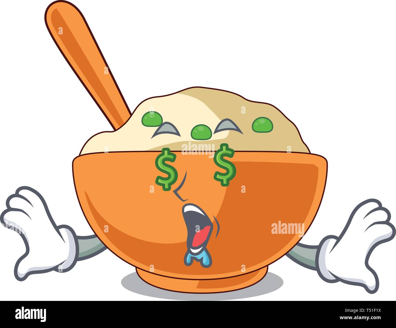Money eye mashed potato above in cartoon plate - Stock Image