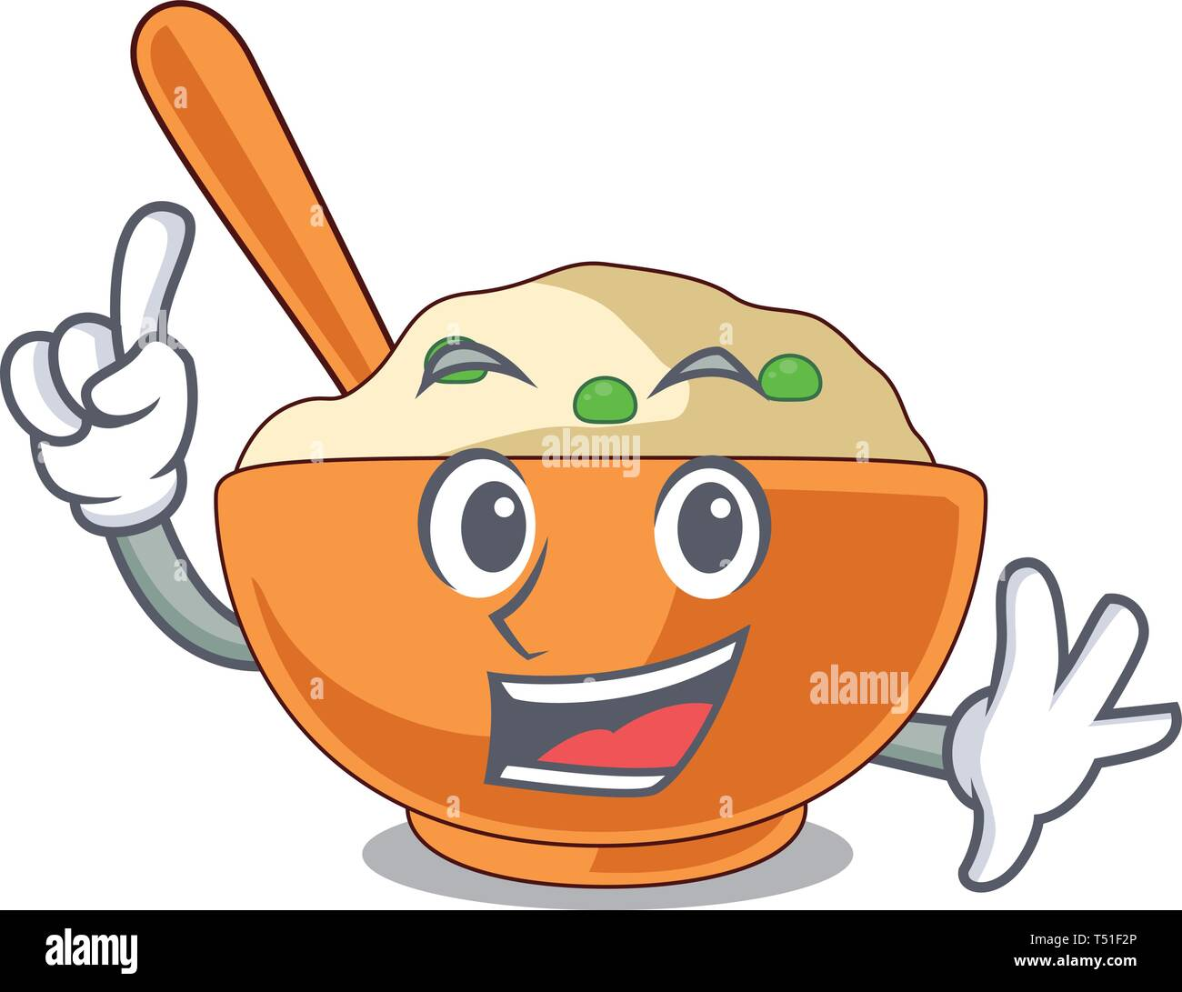 Finger mashed potato above in cartoon plate - Stock Image
