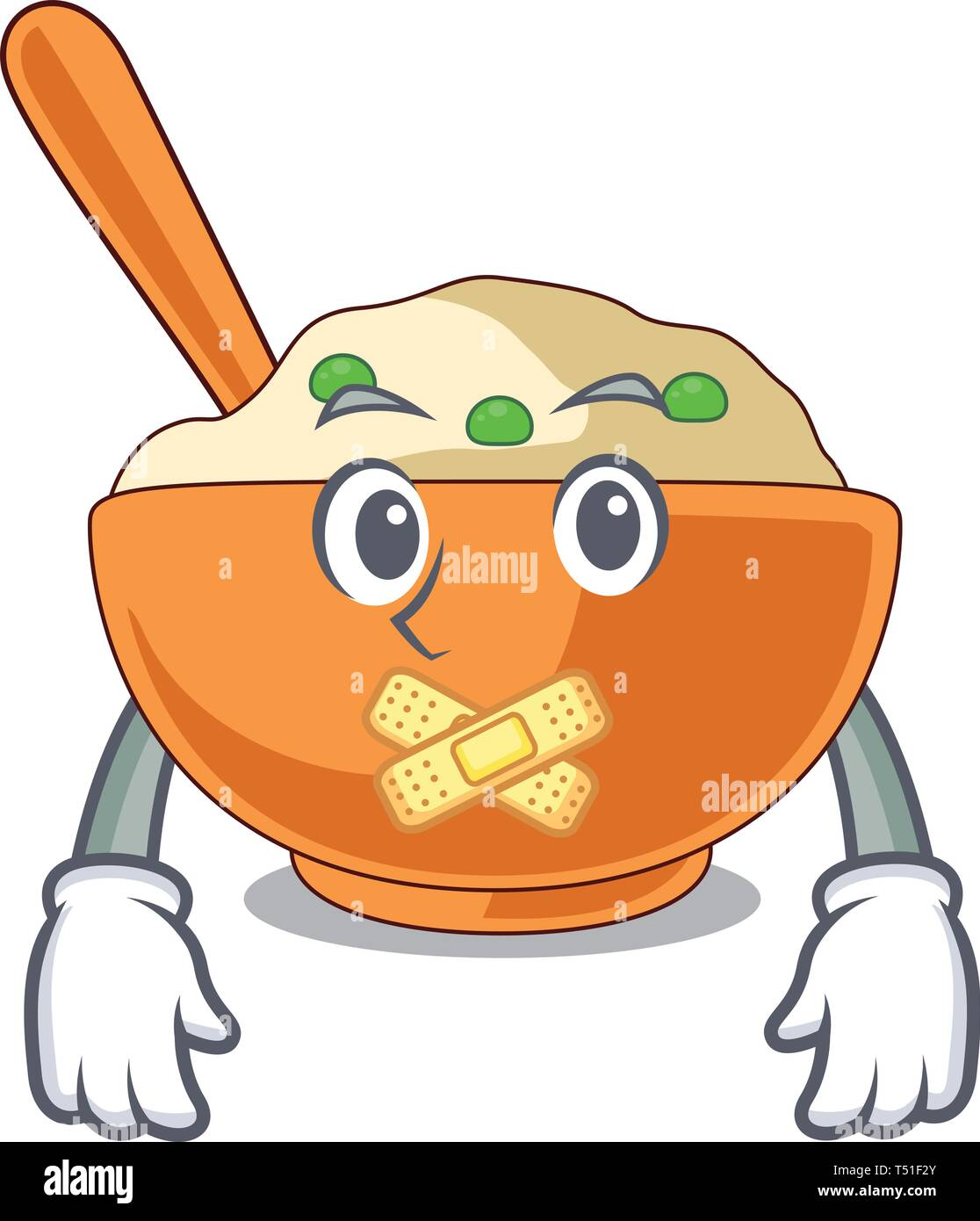 Silent mashed potato above in cartoon plate - Stock Image