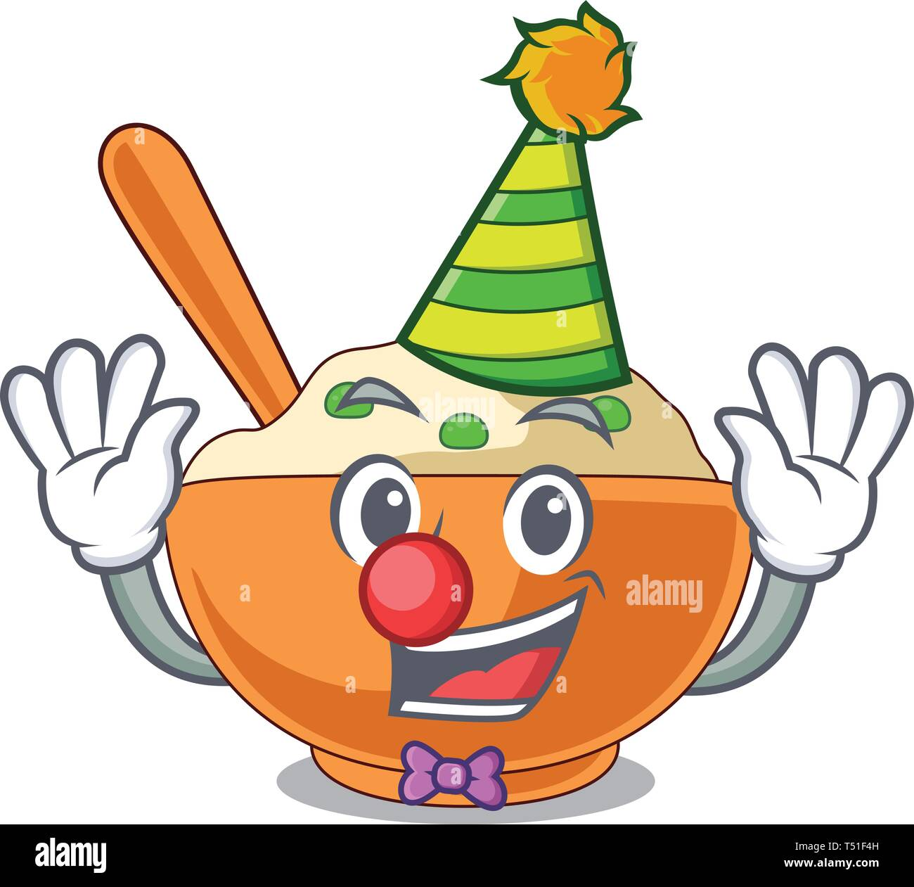 Clown mashed potato above in cartoon plate - Stock Image