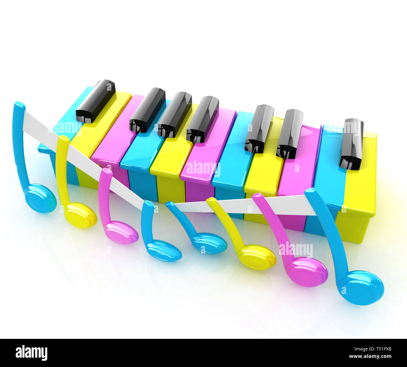 Colorfull piano keys on a white background - Stock Image