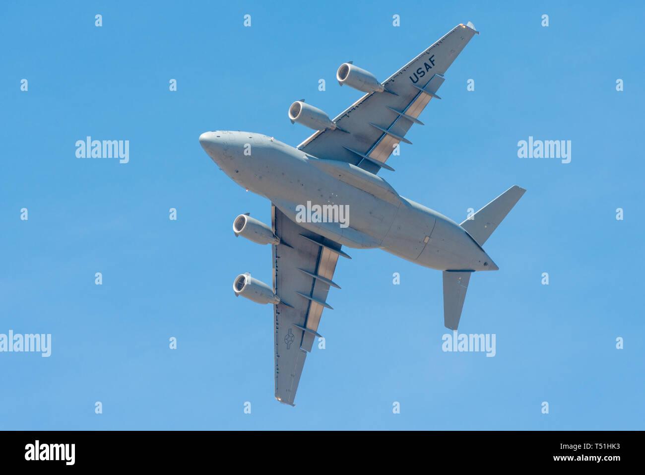 Bengaluru, India - February 22, 2019: US Air Force Boeing Globemaster C-17 flying at the Aero India 2019 exhibition in Bangalore, India. Aero India is - Stock Image