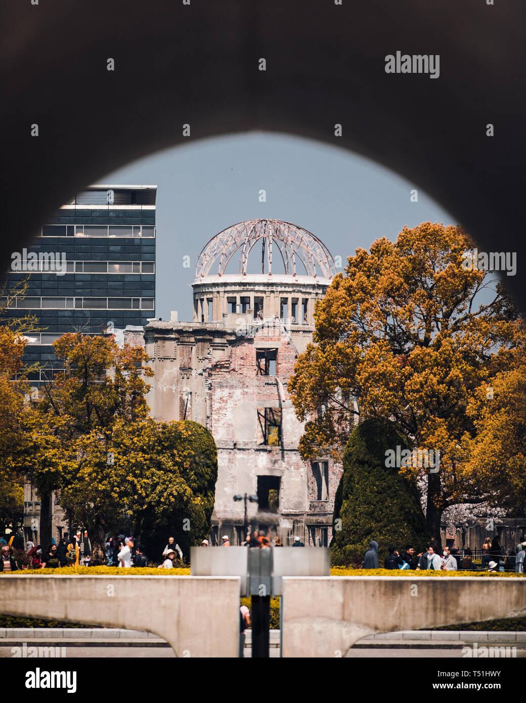 Atomic bomb dome in Hiroshima, Japan while Cherry blossom season - Stock Image