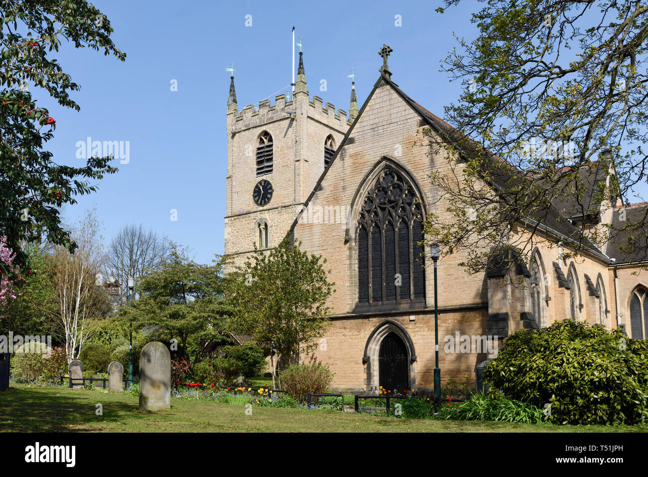 Hucknall Market and Church in Nottinghamshire,UK. Stock Photo
