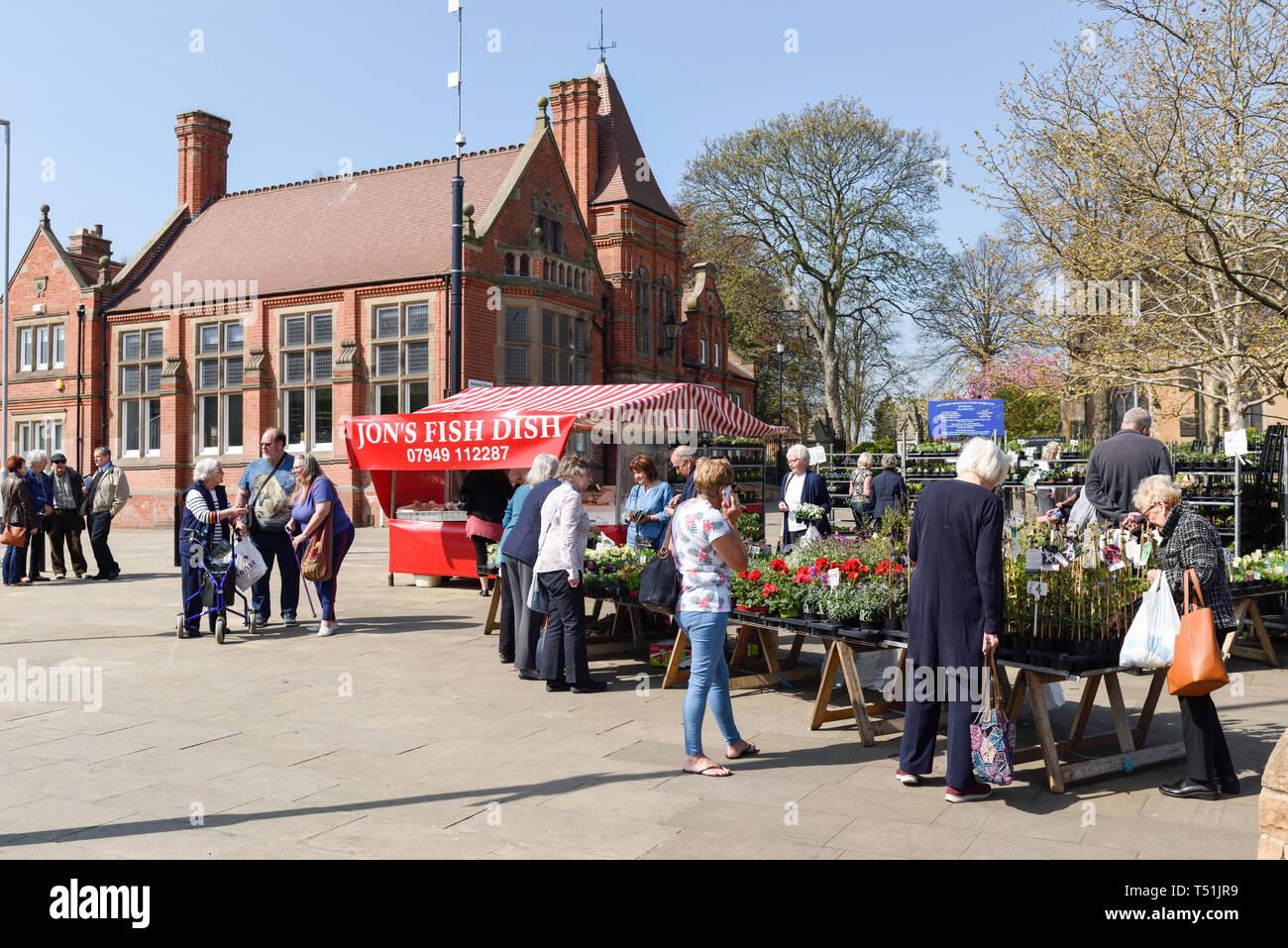 Hucknall Market and Church in Nottinghamshire,UK. Stock Photo