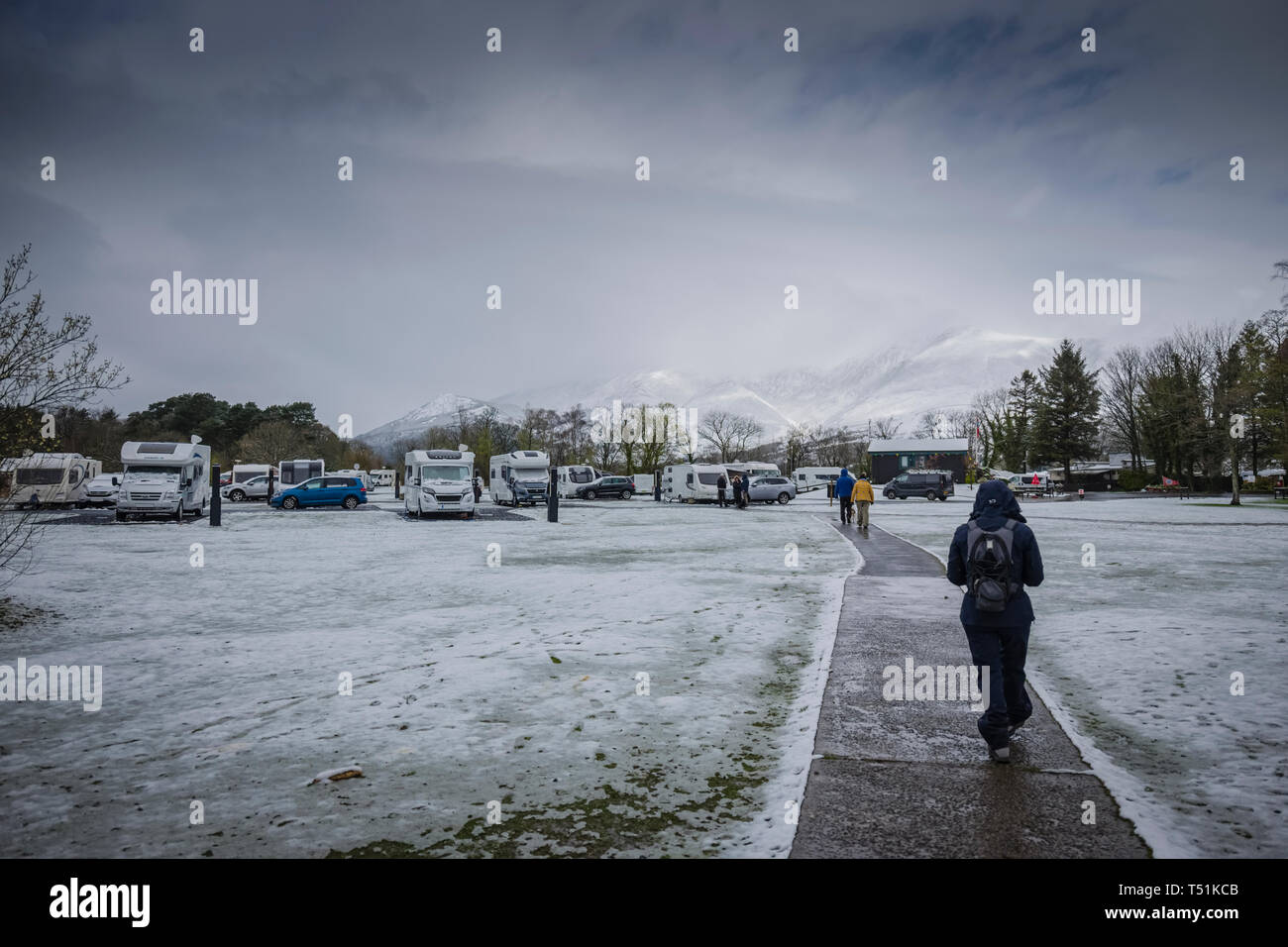 Camping and Caravanning Club site with Spring snow at Keswick, Cumbria, UK. Stock Photo