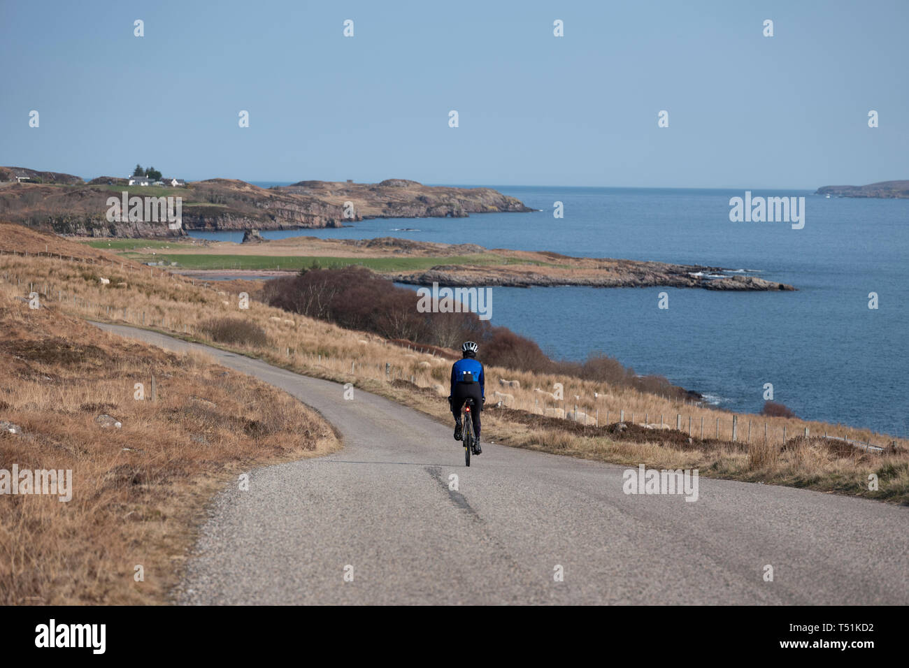 cycling from Poolewe to Cove along the shore of Loch Ewe, west coast of Scotland. Stock Photo