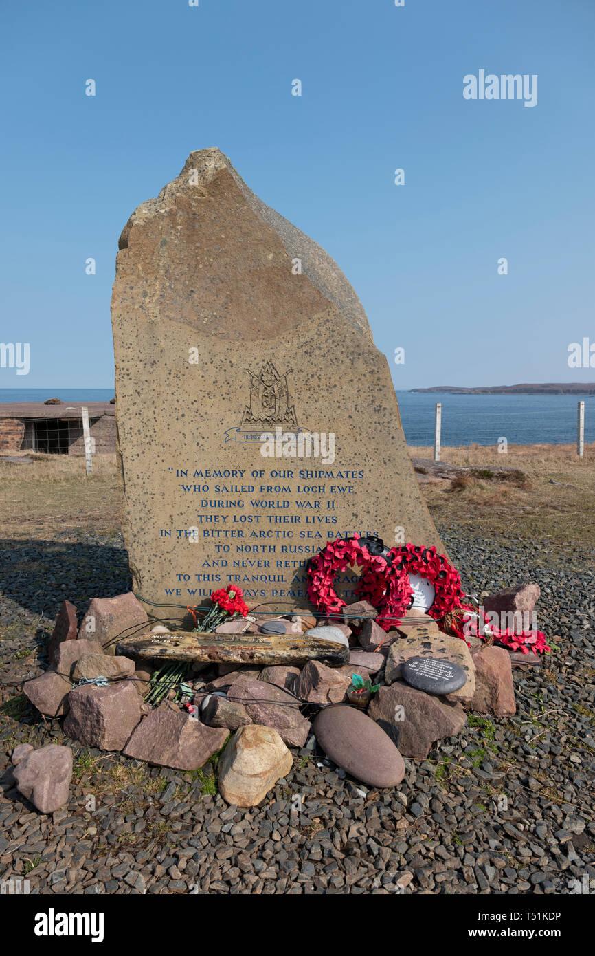 Russian convoy memorial at Loch Ewe, Poolewe, west coast of Scotland. Stock Photo