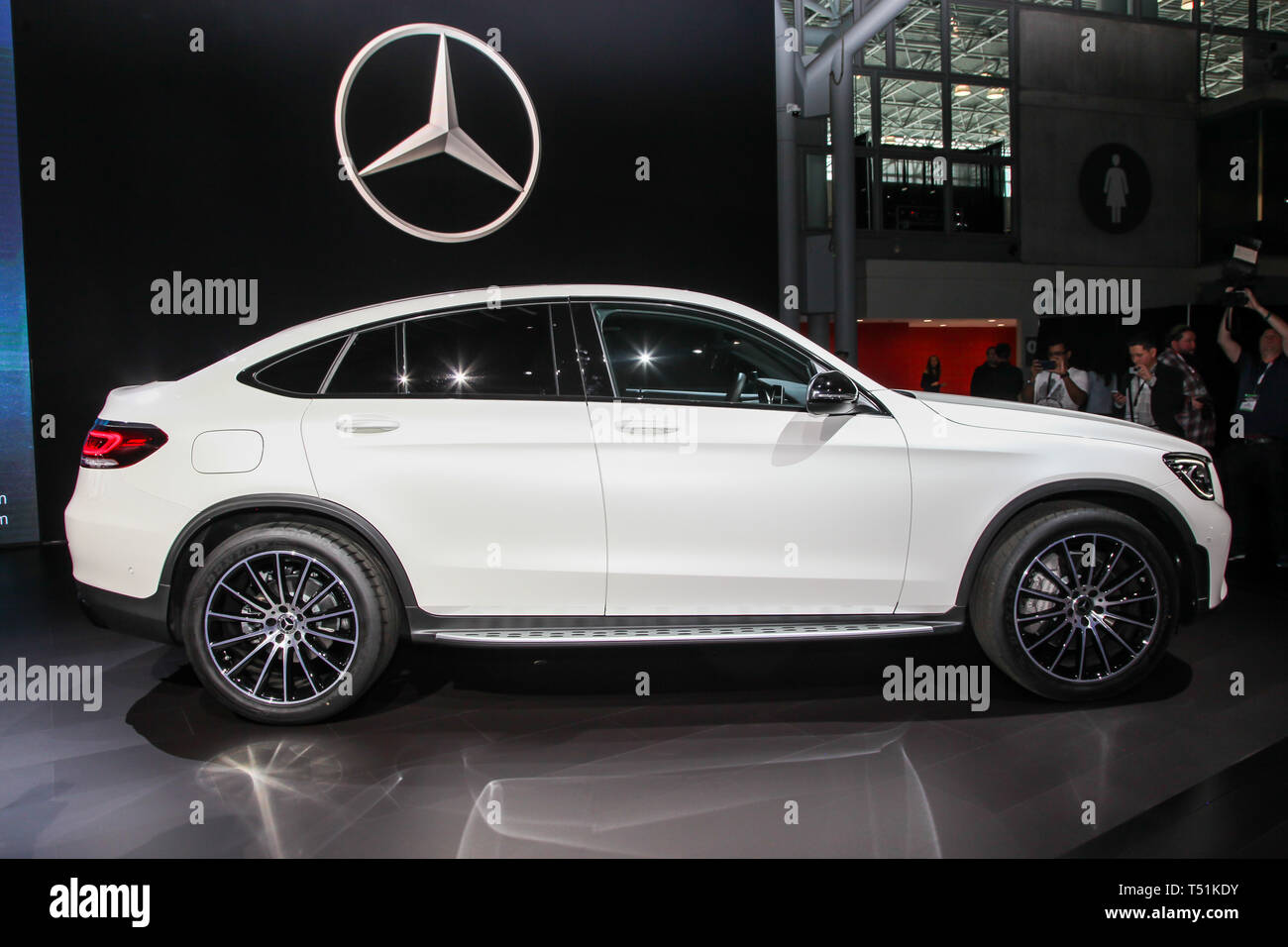 Mercedes-Benz GLC 300 Coupe shown at the New York International Auto Show 2019, at the Jacob Javits Center. This was Press Preview Day One of NYIAS - Stock Image