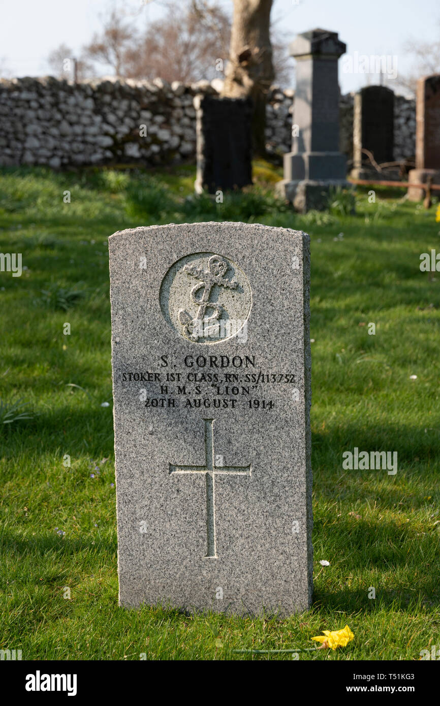 Military graves in the public cemetery at Poolewe, Scotland. Stock Photo