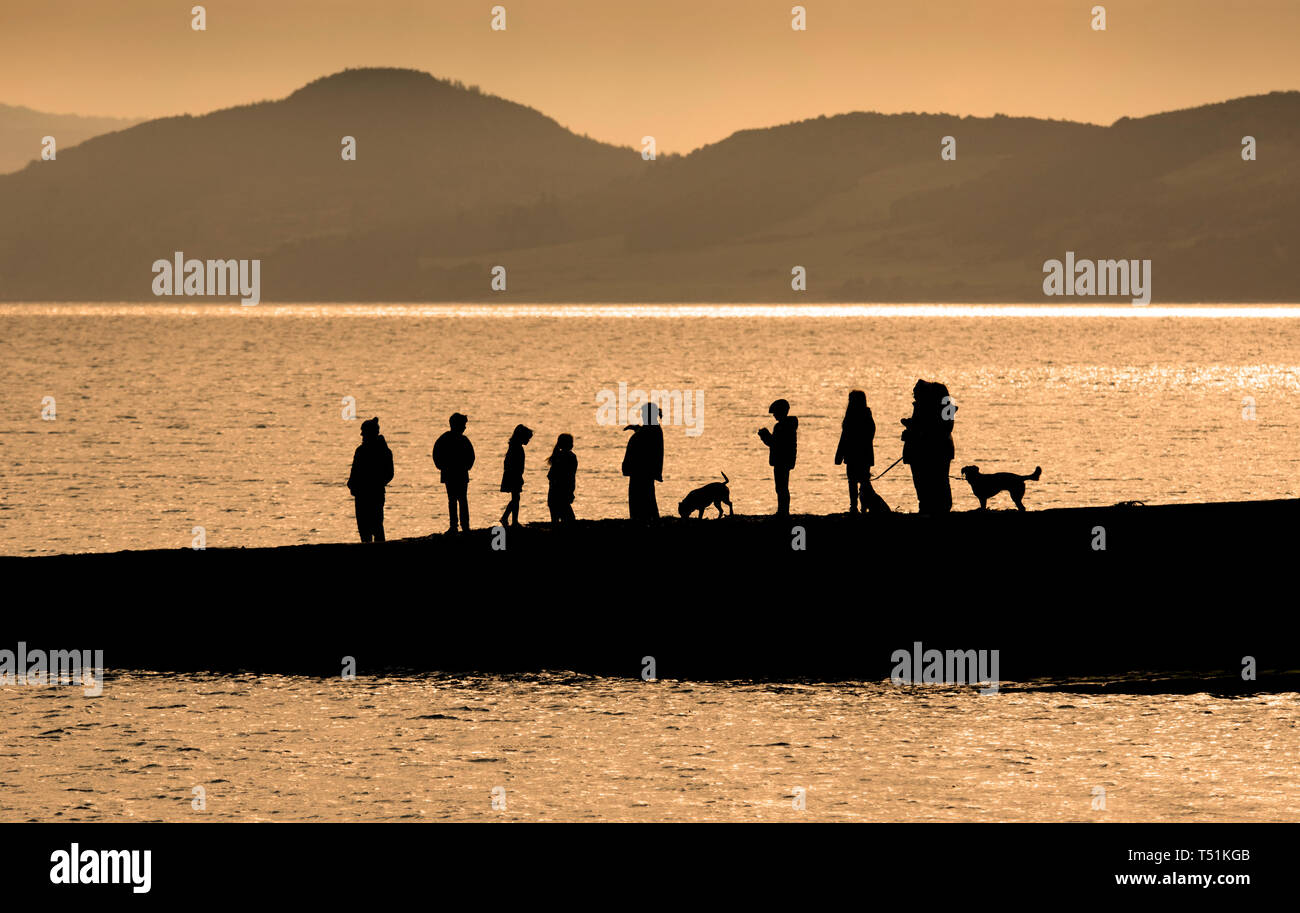 Looking for dolphins, Chanonry Point, Rosemarkie, Scotland. Stock Photo