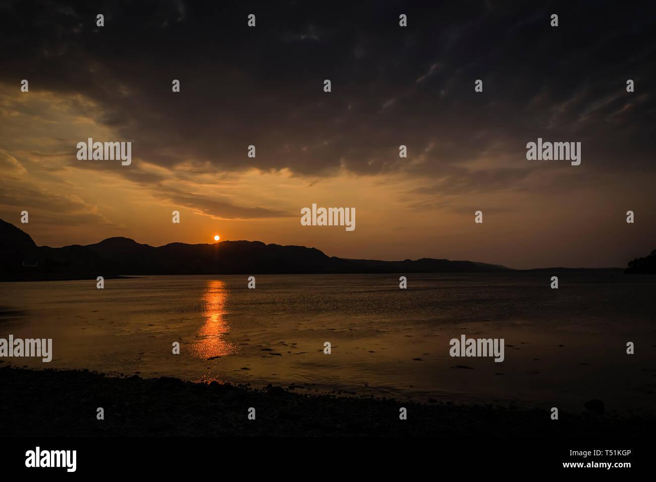 Sunset over Loch Ewe at Poolewe, Scotland Stock Photo