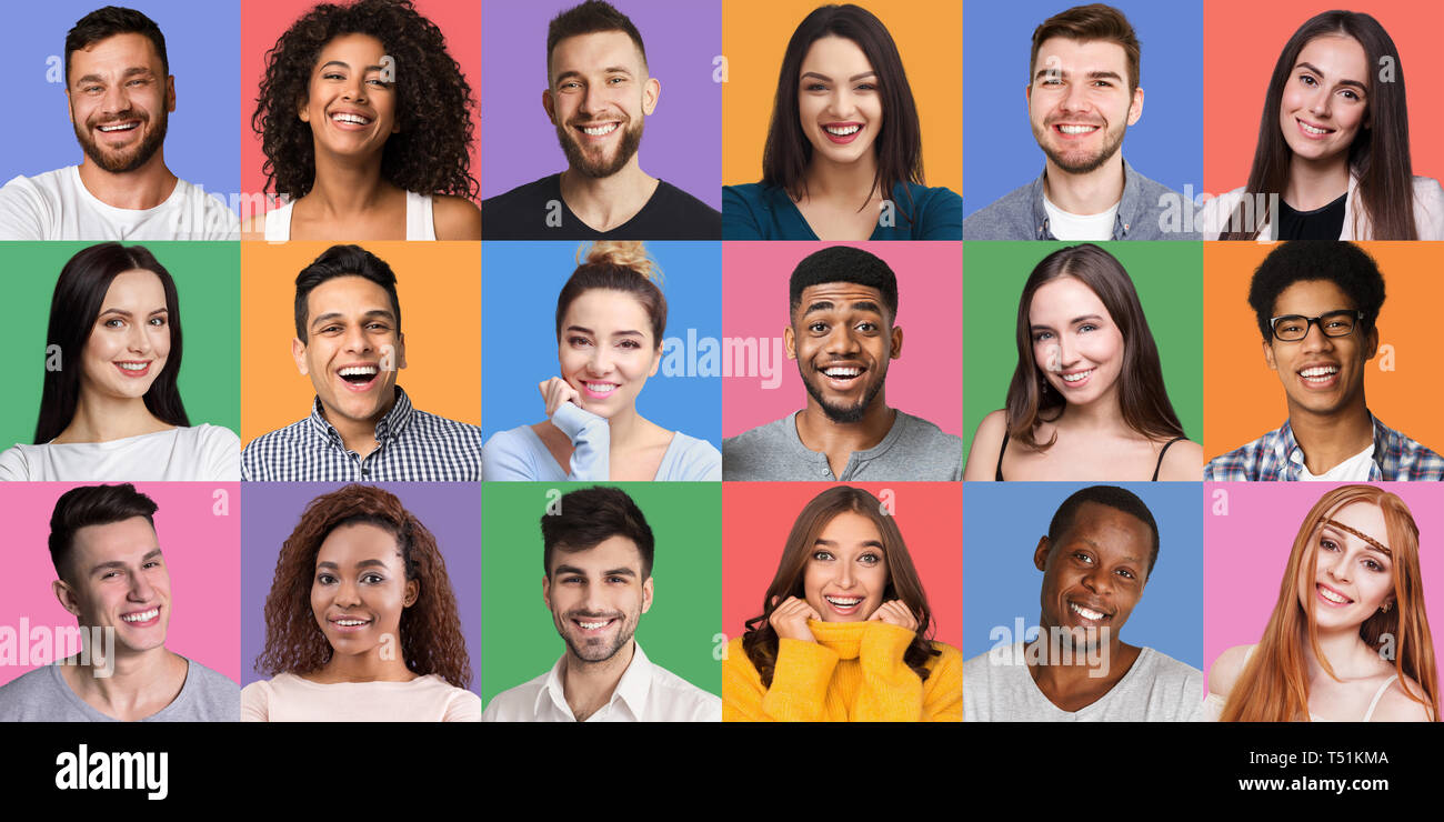 Portrait's collage. Young diverse people grimacing and gesturing at colorful backgrounds. Young and happy concept - Stock Image