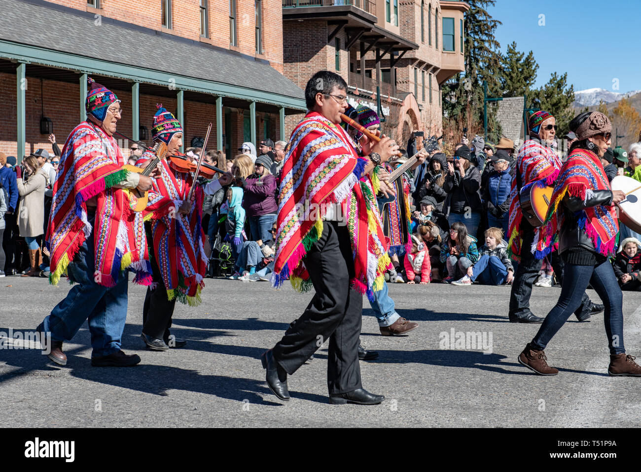 Main parade of Trailing of the Sheep in downtown Ketchum, Idaho, USA - Stock Image
