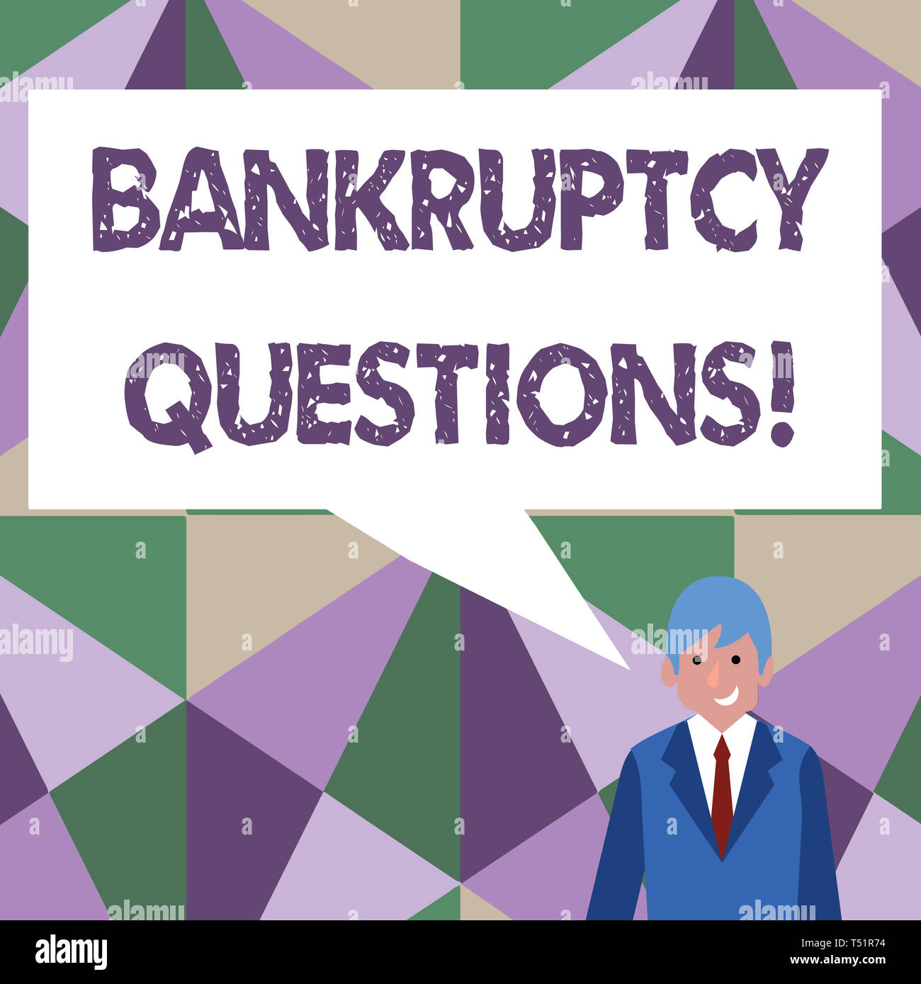 Writing note showing Bankruptcy Questions. Business concept for discarding debt or making a plan to repay debts Businessman Smiling and Talking Blank  - Stock Image