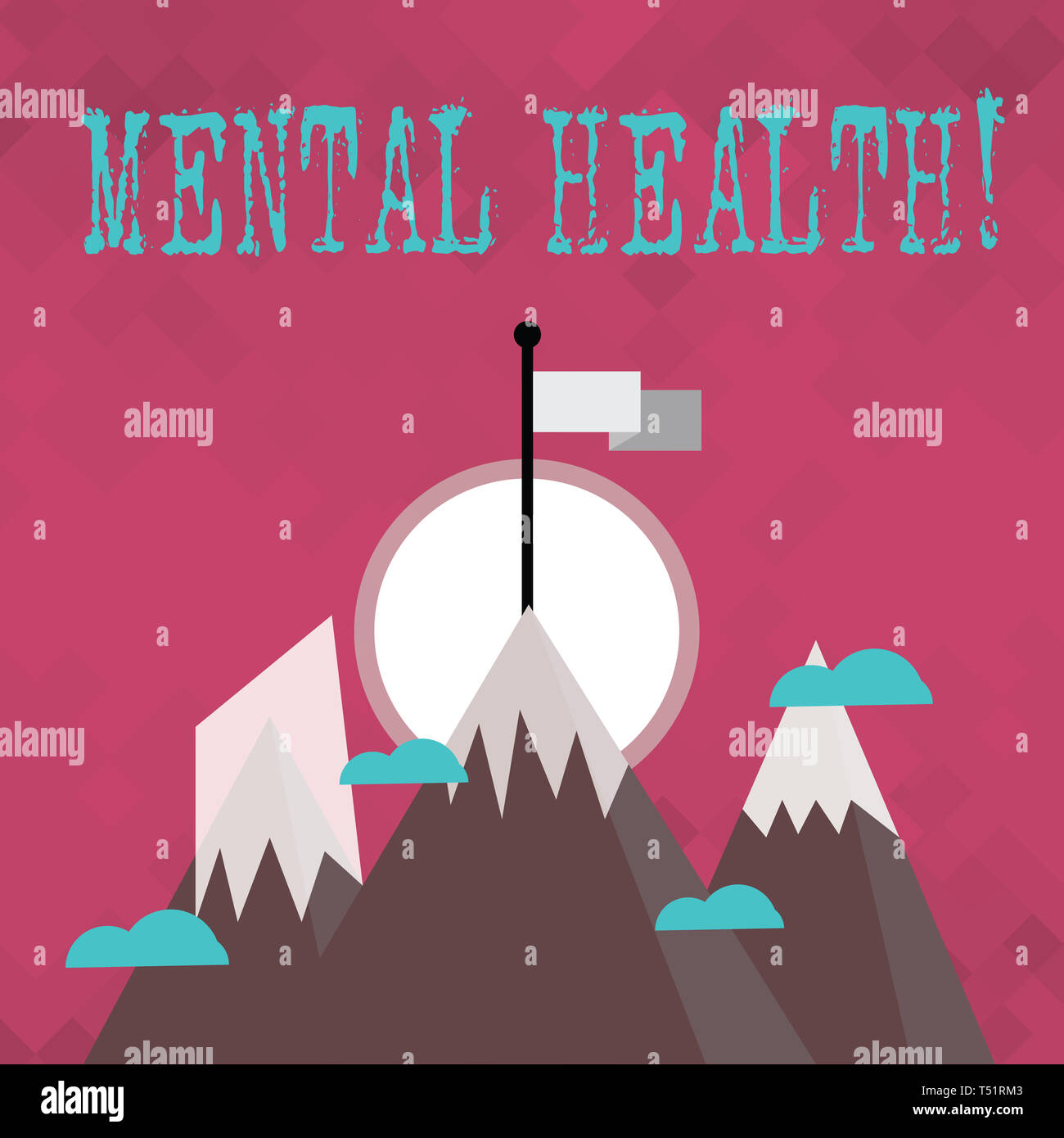 Writing note showing Mental Health. Business concept for demonstratings condition regard to their psychological well being Three High Mountains with S - Stock Image