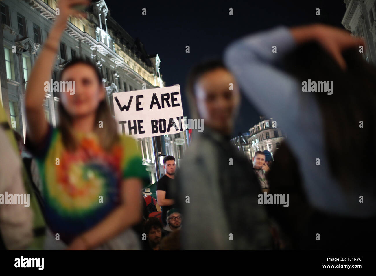 Extinction Rebellion demonstrators at Oxford Circus in London. Stock Photo